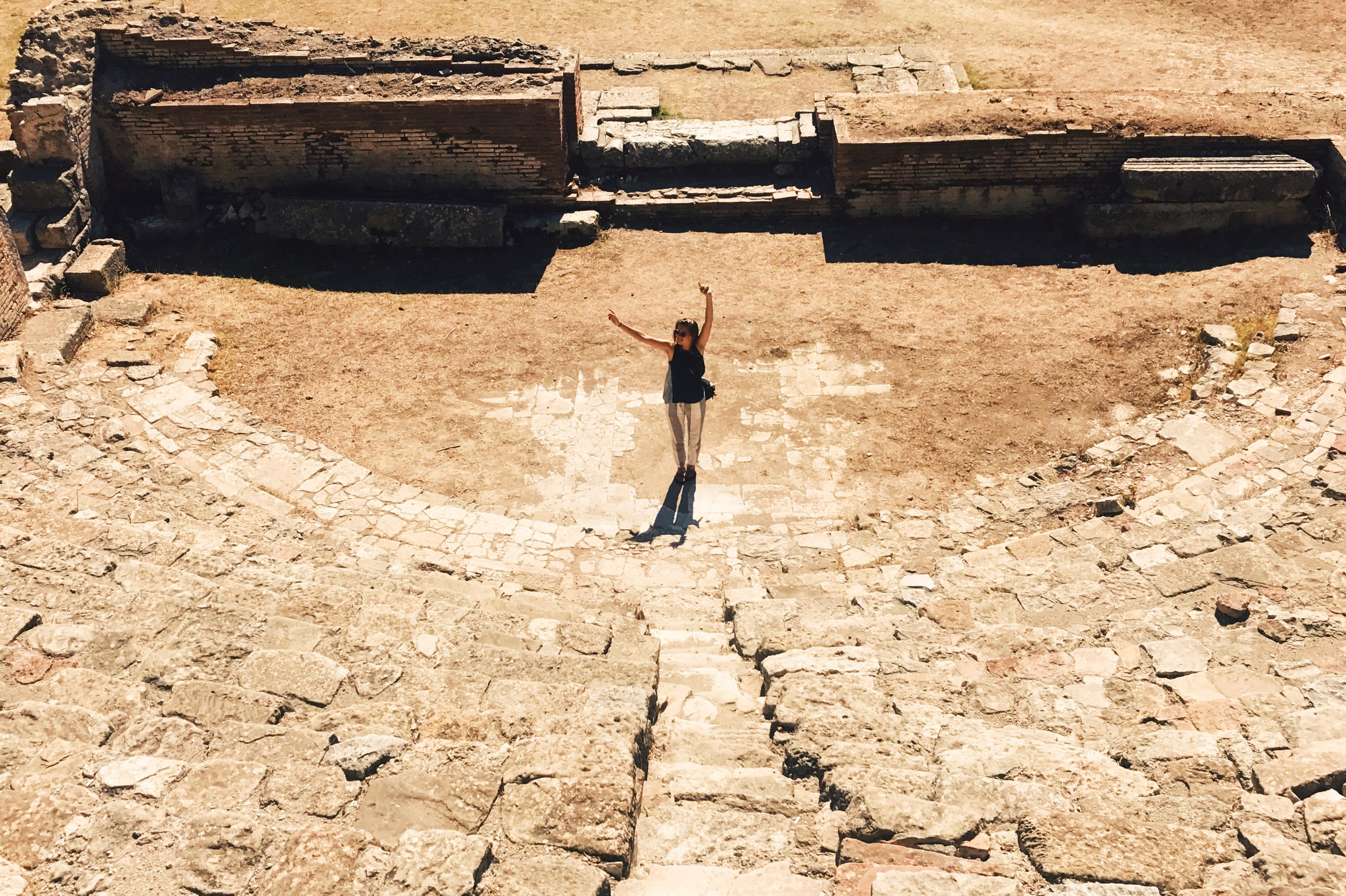 Me putting up a show at the ancient theatre