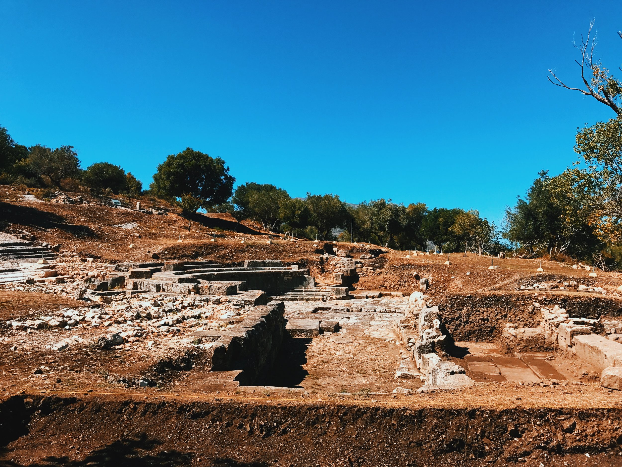 Ruins in the archeological park in Orikum, Albania
