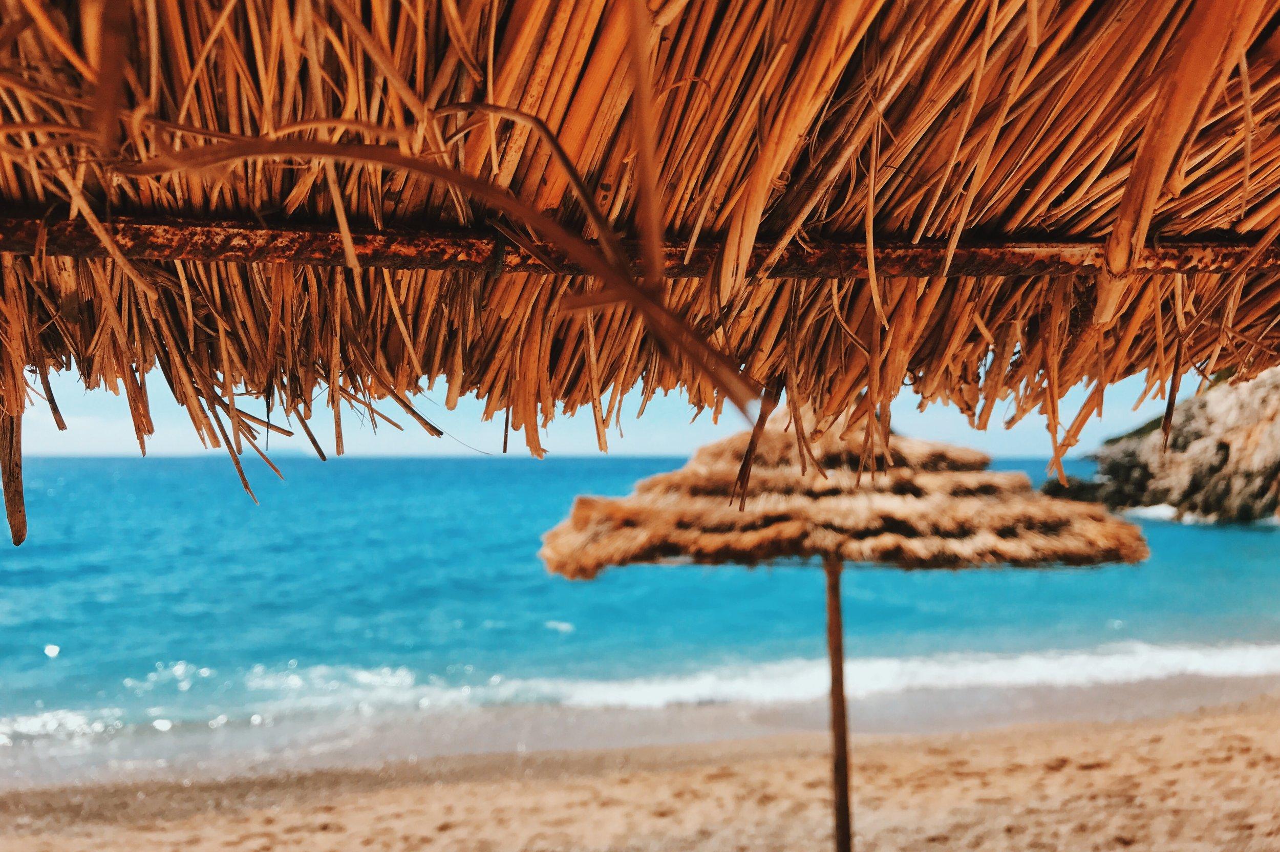 Umbrella at Gjipe beach, Albania