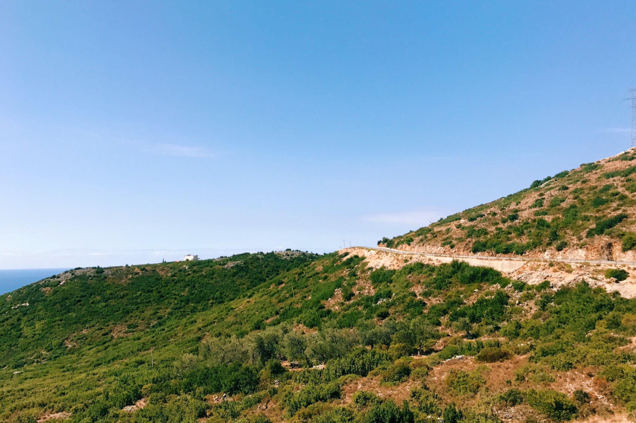 The road to Gjipe beach, Albania