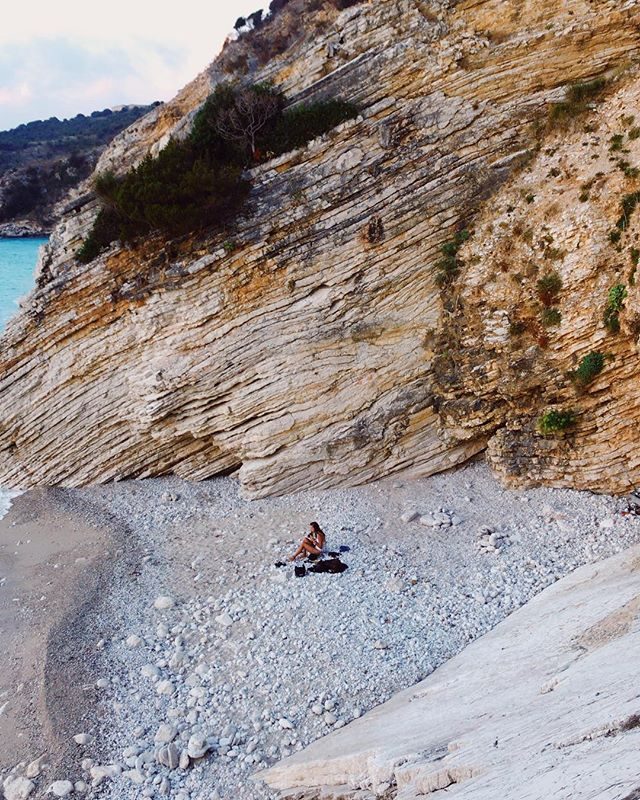 Chilling on a lonely beach 😌👙 Albania is full of secret places 😏