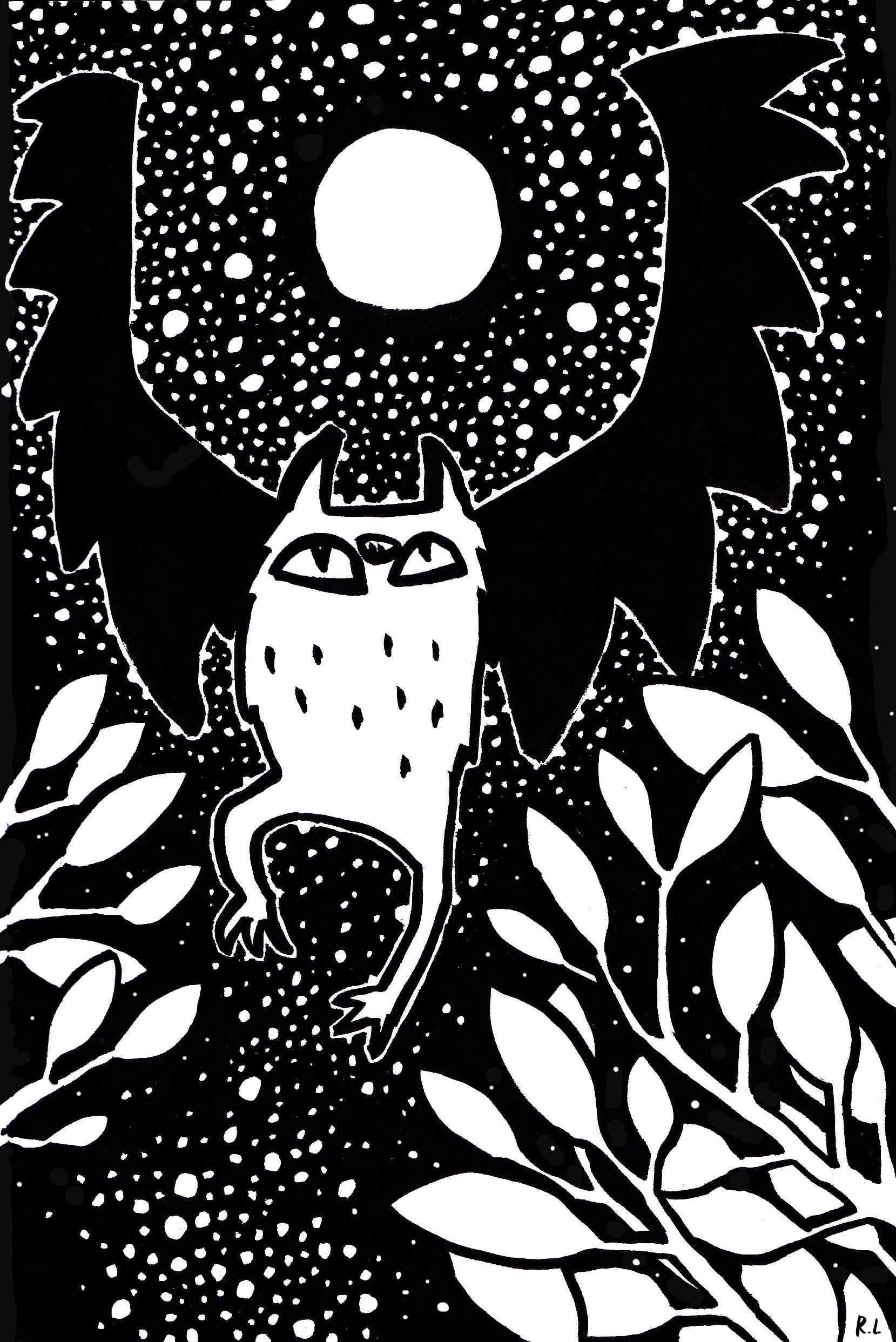 rachel logan illustration star bat night black and white.jpg