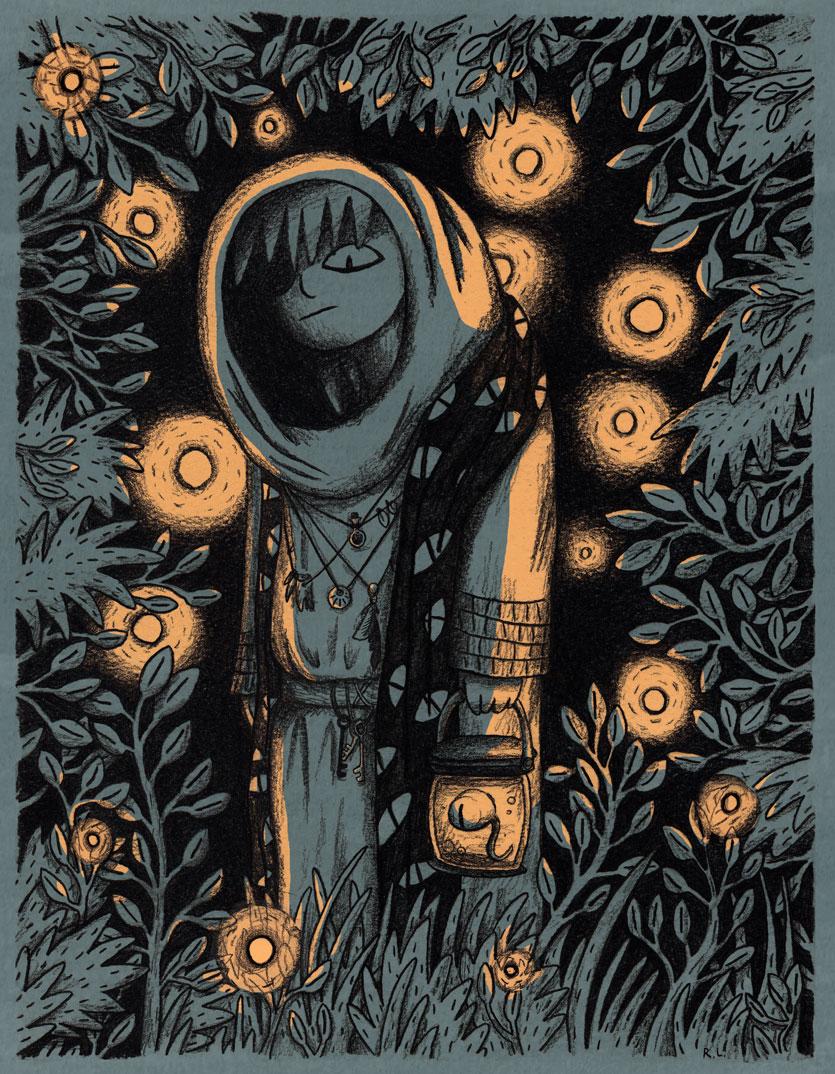 rachel logan illustration forest witch fireflies night spooky.jpg