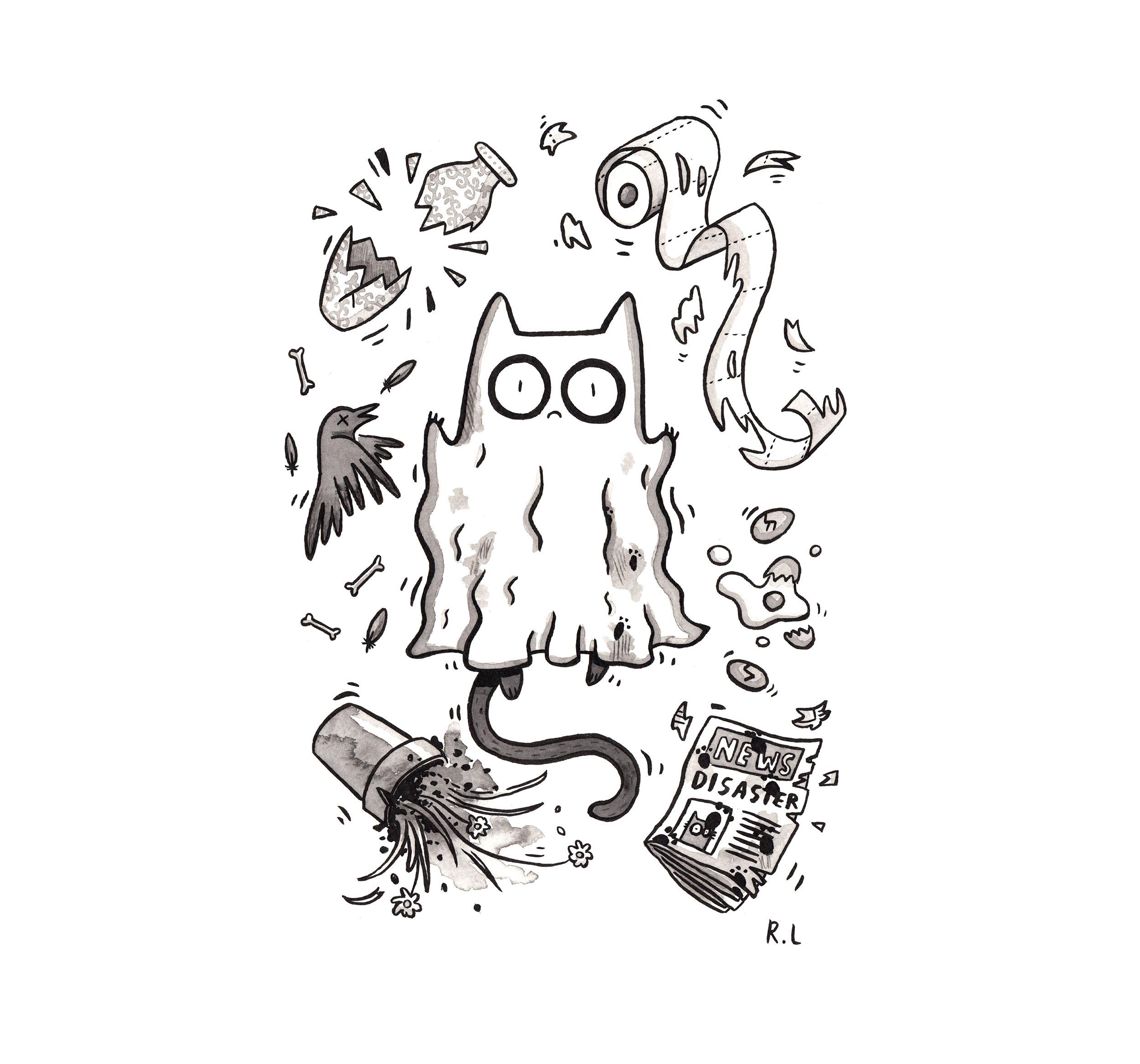 mysterious cat ghost inktober rachel logan illustration.jpg