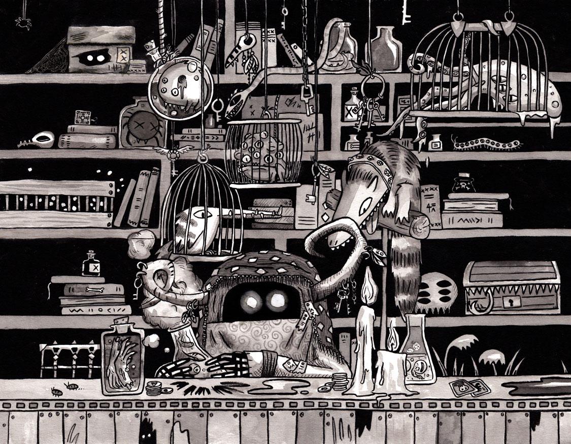 rachel logan illustration potion seller fortune teller fantasy art.jpg