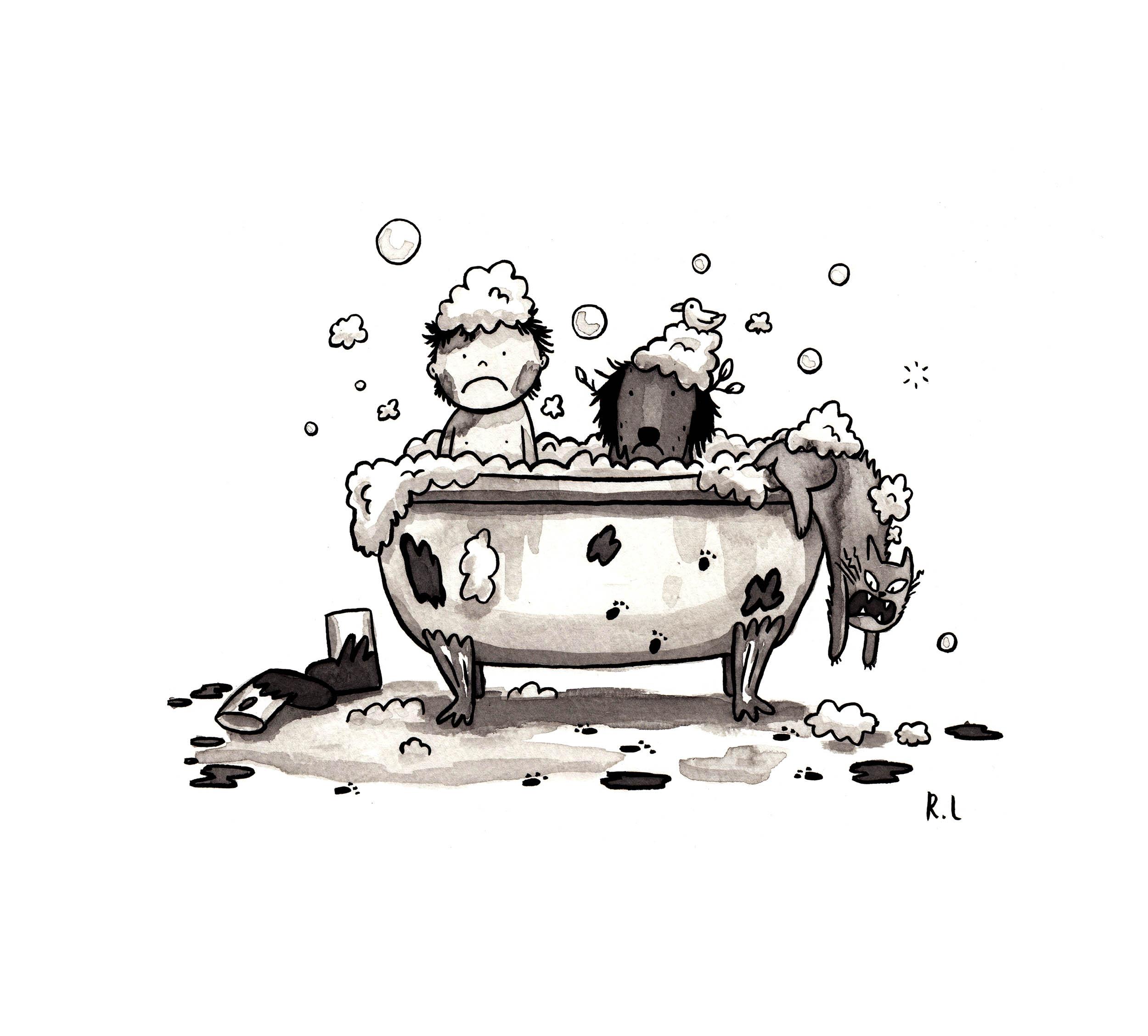 rachel logan illustration boy dog cat bath .jpg