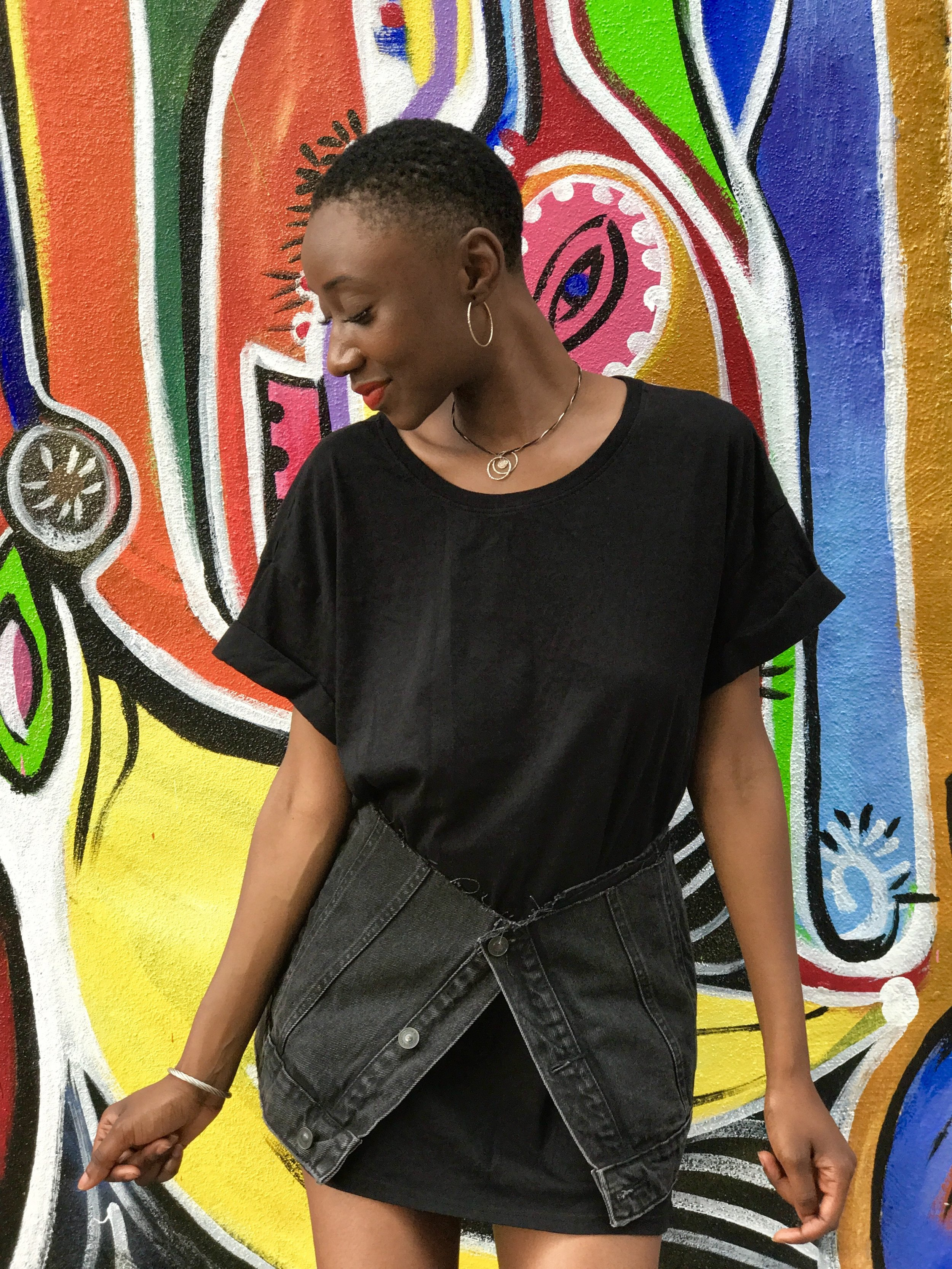 Black. - With the way my closet's set up, I could really wear black the rest of the year. With that being said, click below to see more... Black Long Tee H&M, Charcoal denim pocket DIY, (I'm currently debating on making a few more of these to sell....Thoughts?