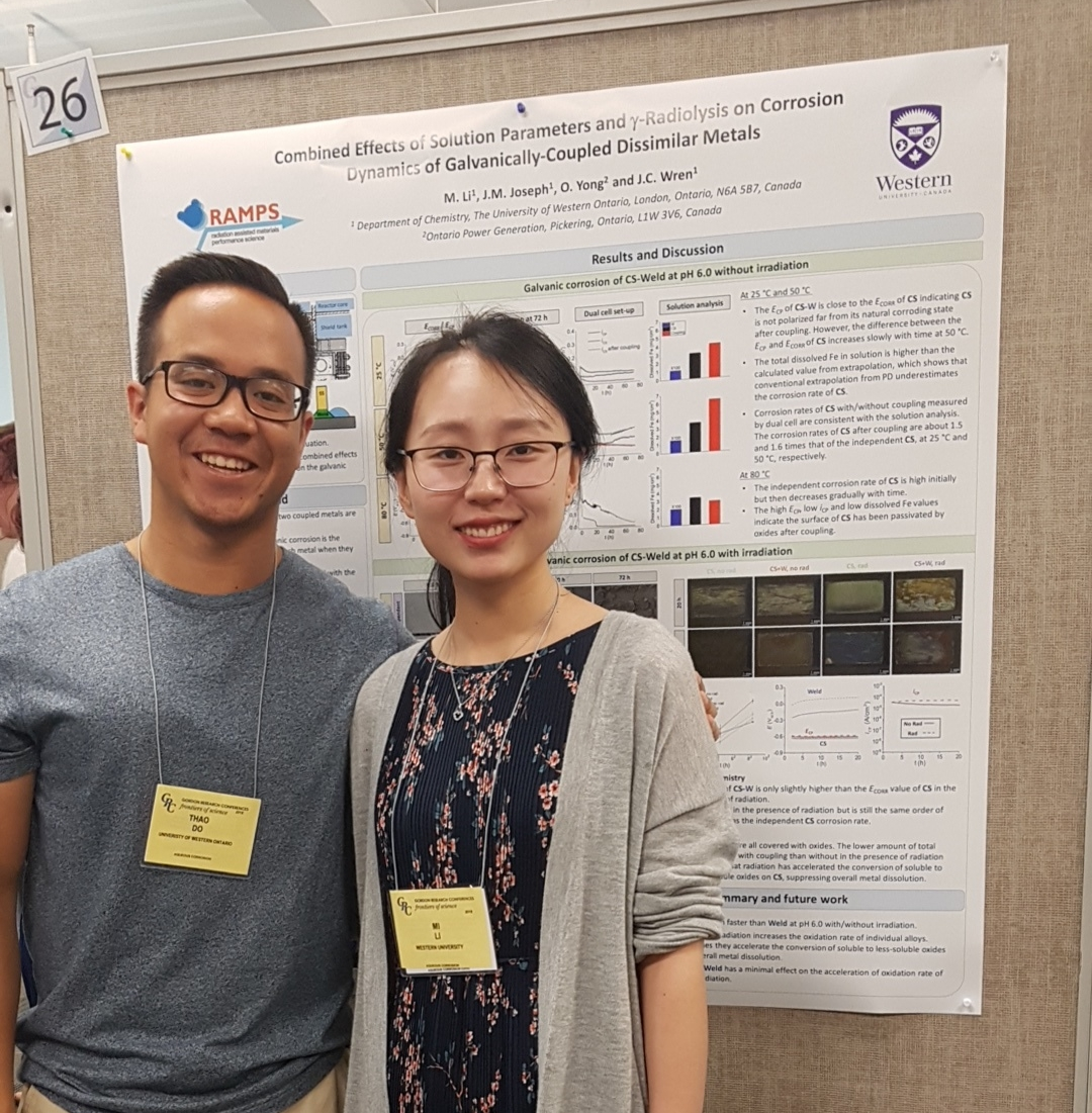 Thao Do and Mi Li (Wren Group graduate students) in front of Mi's poster at the 2018 Aqueous Corrosion Conference GRC.