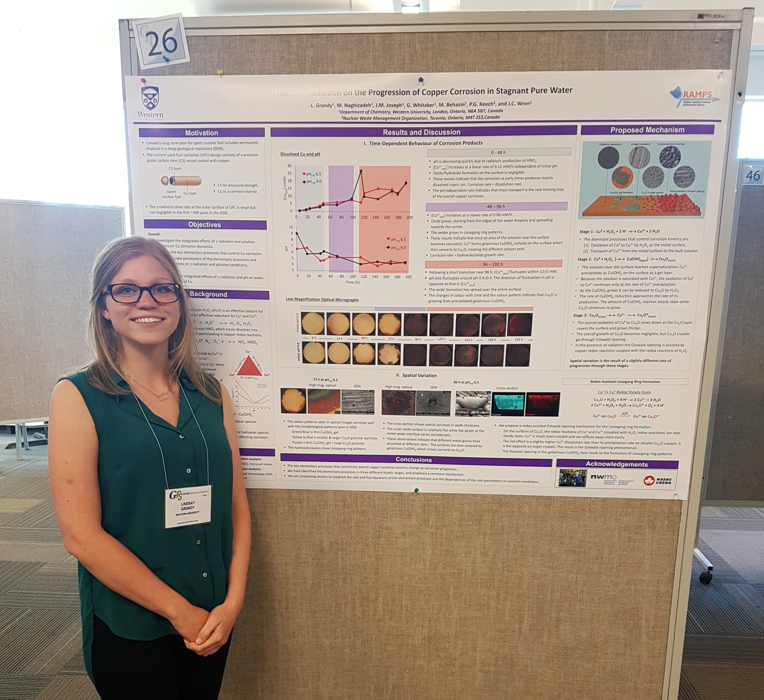 PhD candidate Lindsay Grandy in front of her poster at the 2018 Aqueous Corrosion Conference GRC.