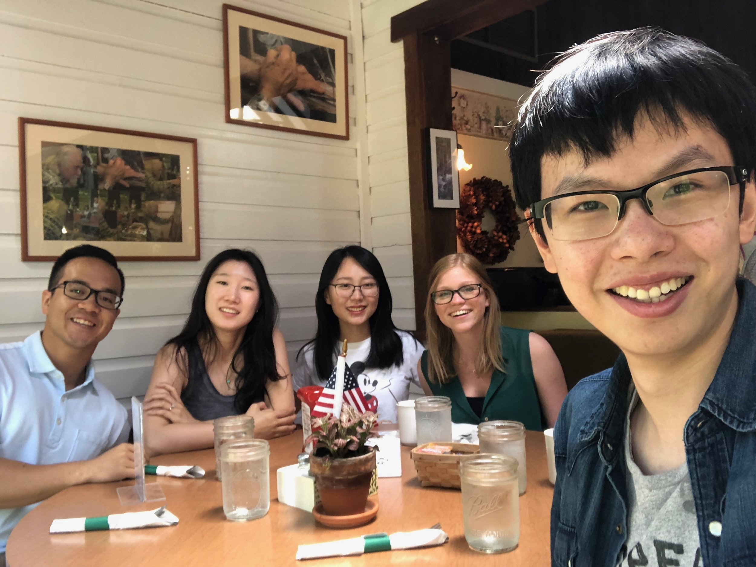 Wren group graduate students out for a meal in New Hampshire while attending the 2018 Aqueous Corrosion Conference GRC.