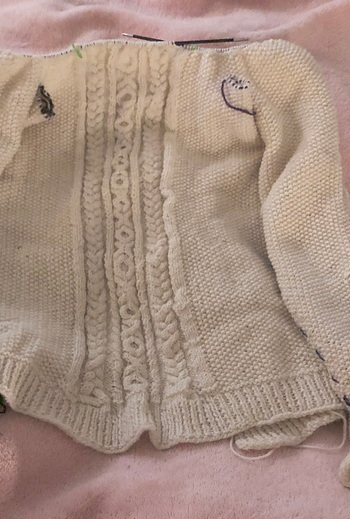 """""""Knitting is, at its fundamentals, a binary code featuring top-down design, standardized submodules, and recursive logic that relies on ratios, mathematical principles, and an intuitive grasp of three-dimensional geometry"""" - ~Kim Brody Salazar ~ Fibre artist and designer(Photo: Ms. Elizabeth McCready's cabled cardigan. Students who spend several years at Odyssey Heights, and who are active in the fibre arts club will be able to make their own sweaters and learn Aran/cable knitting.)"""