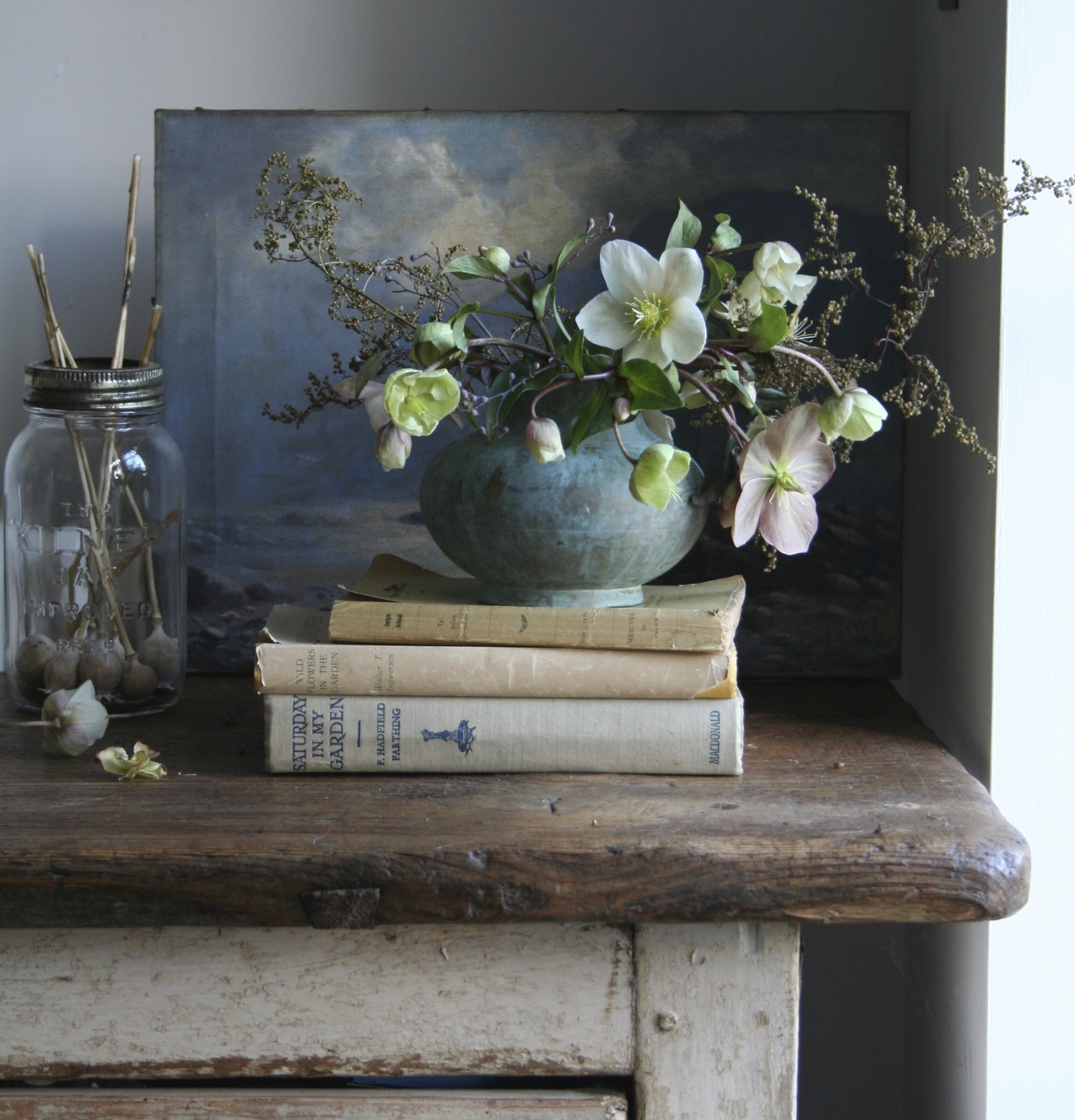 A small pot of Hellebores and dried Artemisa. Photo by Lucy