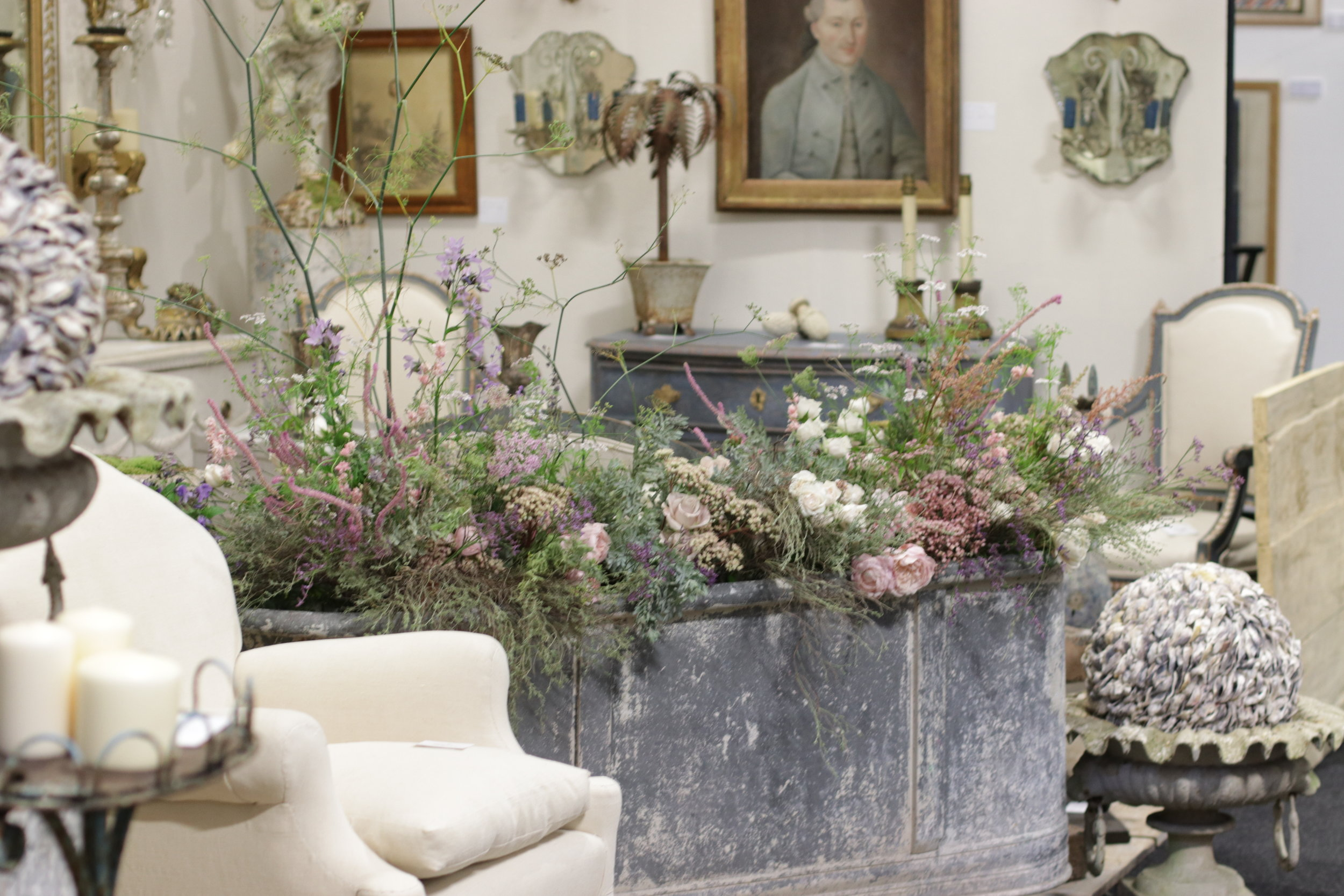 Supplying and styling florals for the Decorative Antiques and Textiles Fair in Battersea.