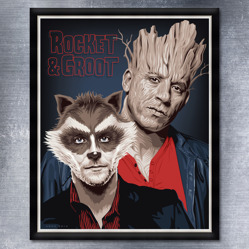 My homage to Bradley Cooper and Vin Diesel, the voices behind Guardians of Galaxy's Rocket and Groot.