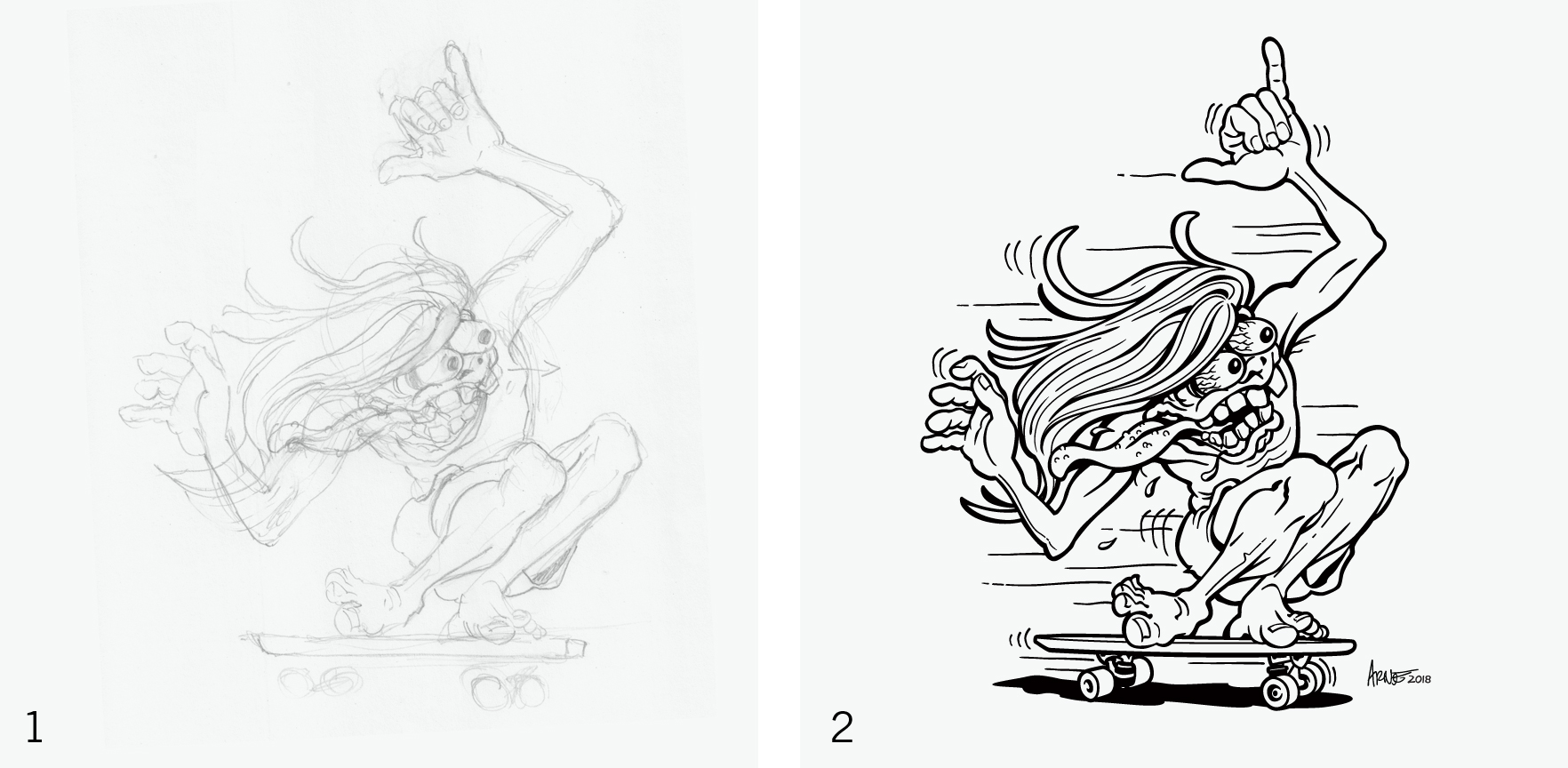 """Step 1: A loose pencil sketch is drawn, scanned and placed in Adobe Illustrator to be used as a template for """"inking.""""  Step 2: The image is """"inked"""" using the pen tool in Adobe Illustrator."""