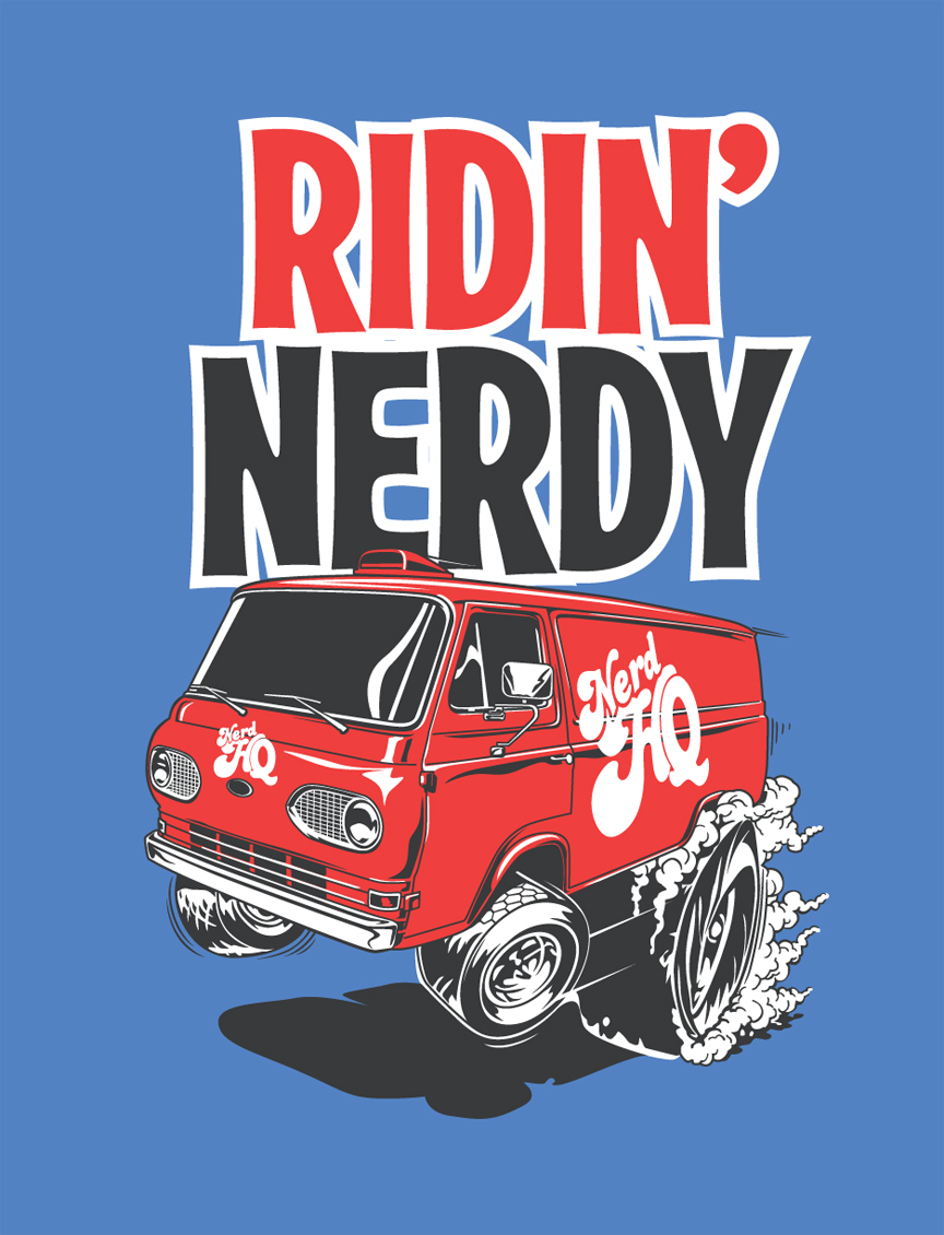 Nerd HQ  actually has a custom 1960s Ford Econoline van that makes appearances at Southern California pop-culture conventions. So, this graphic was a must.