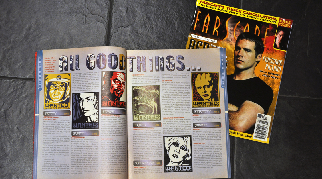 The poster art found it's way into a few publications – The Official Farscape Magazine, Farscape Season 4 Companion, as well as TV Guide.
