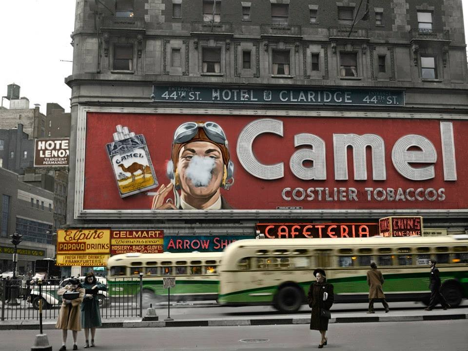 Camel billboard, Times Square, 1943