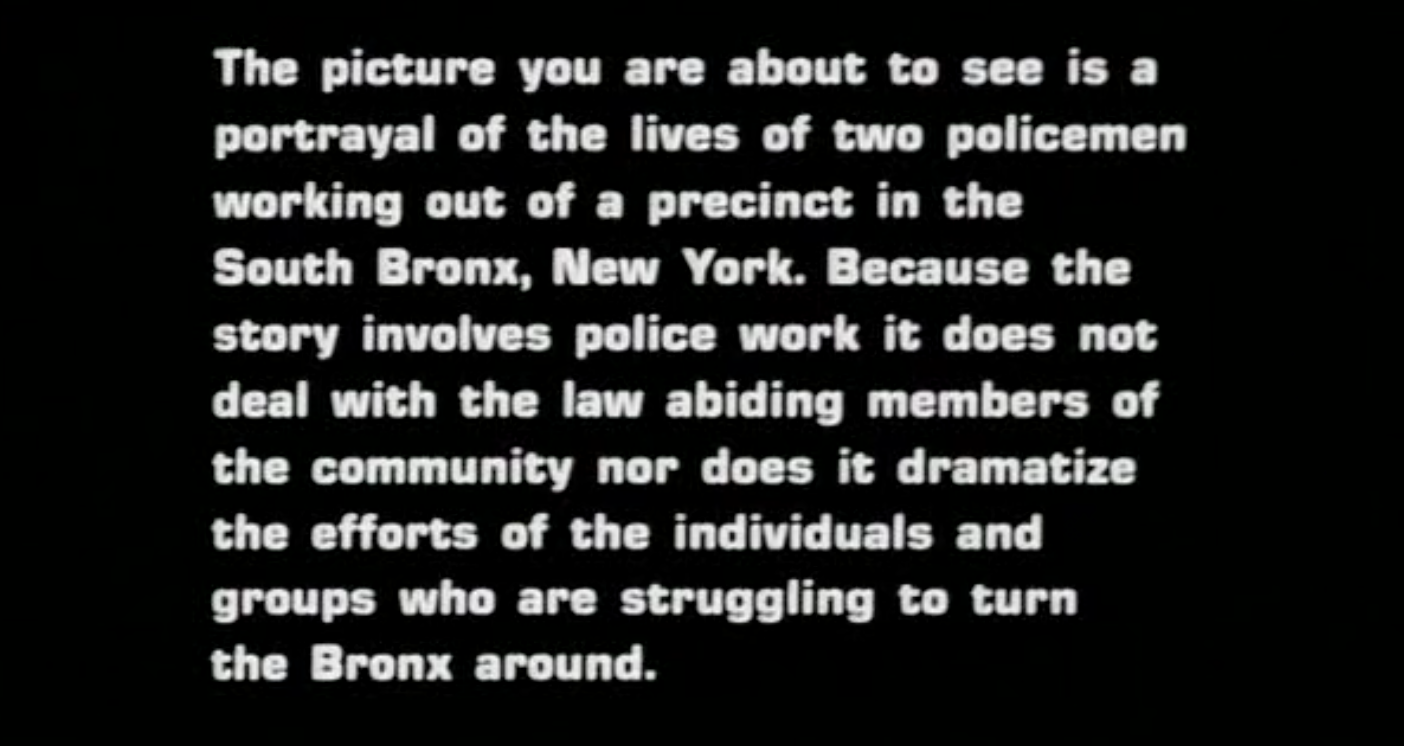 Fort Apache, The Bronx , 1980 (title card)