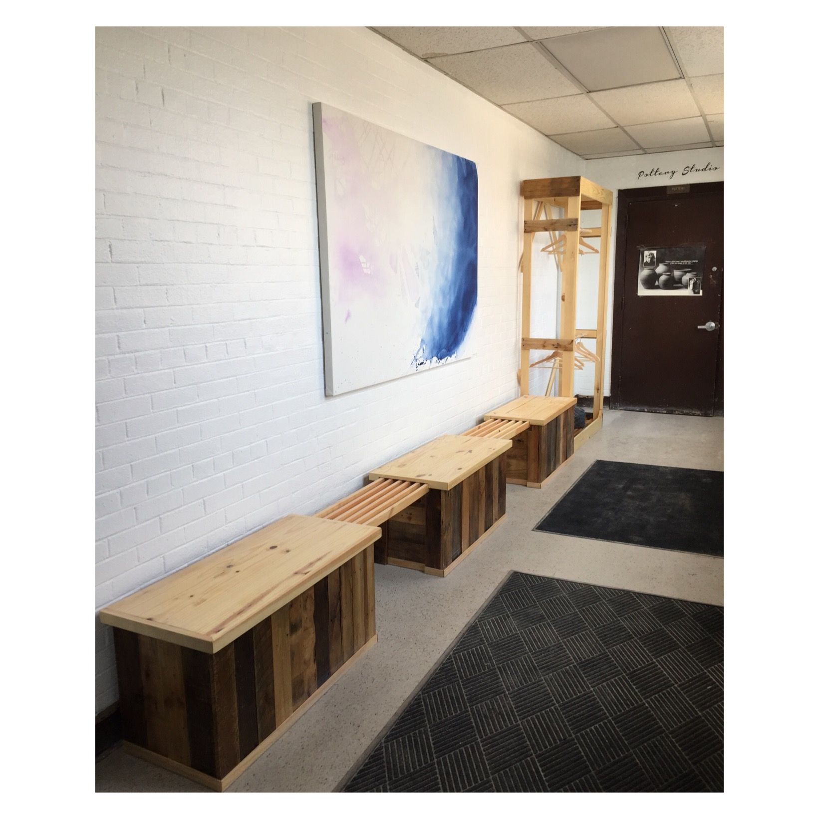 "Benches, Large 4x6 ft Painting, Coatrack, Vinyl ""Pottery Studio"""