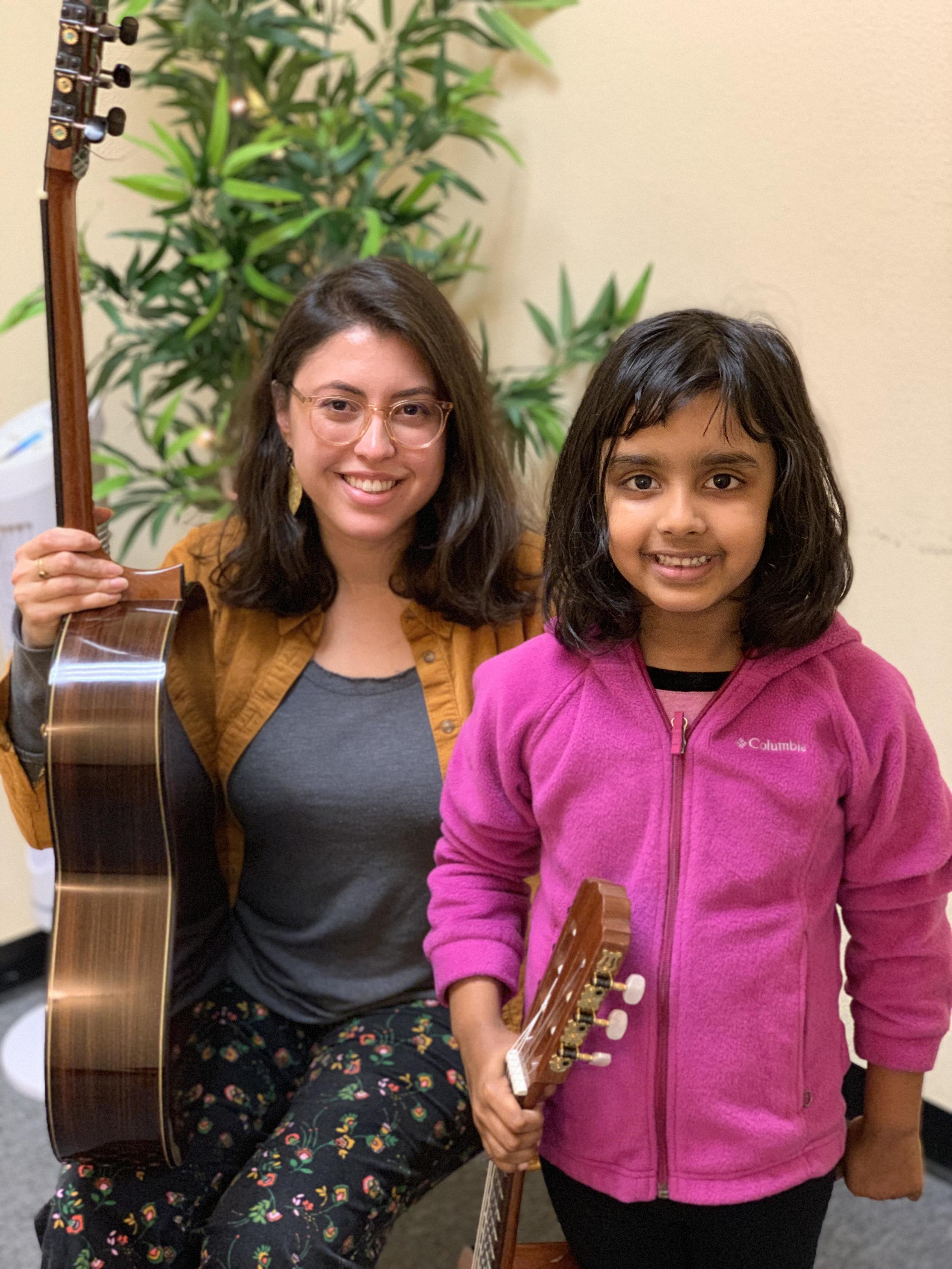 CCM Student Shanaya at her Santa Clara Music Lessons studying guitar