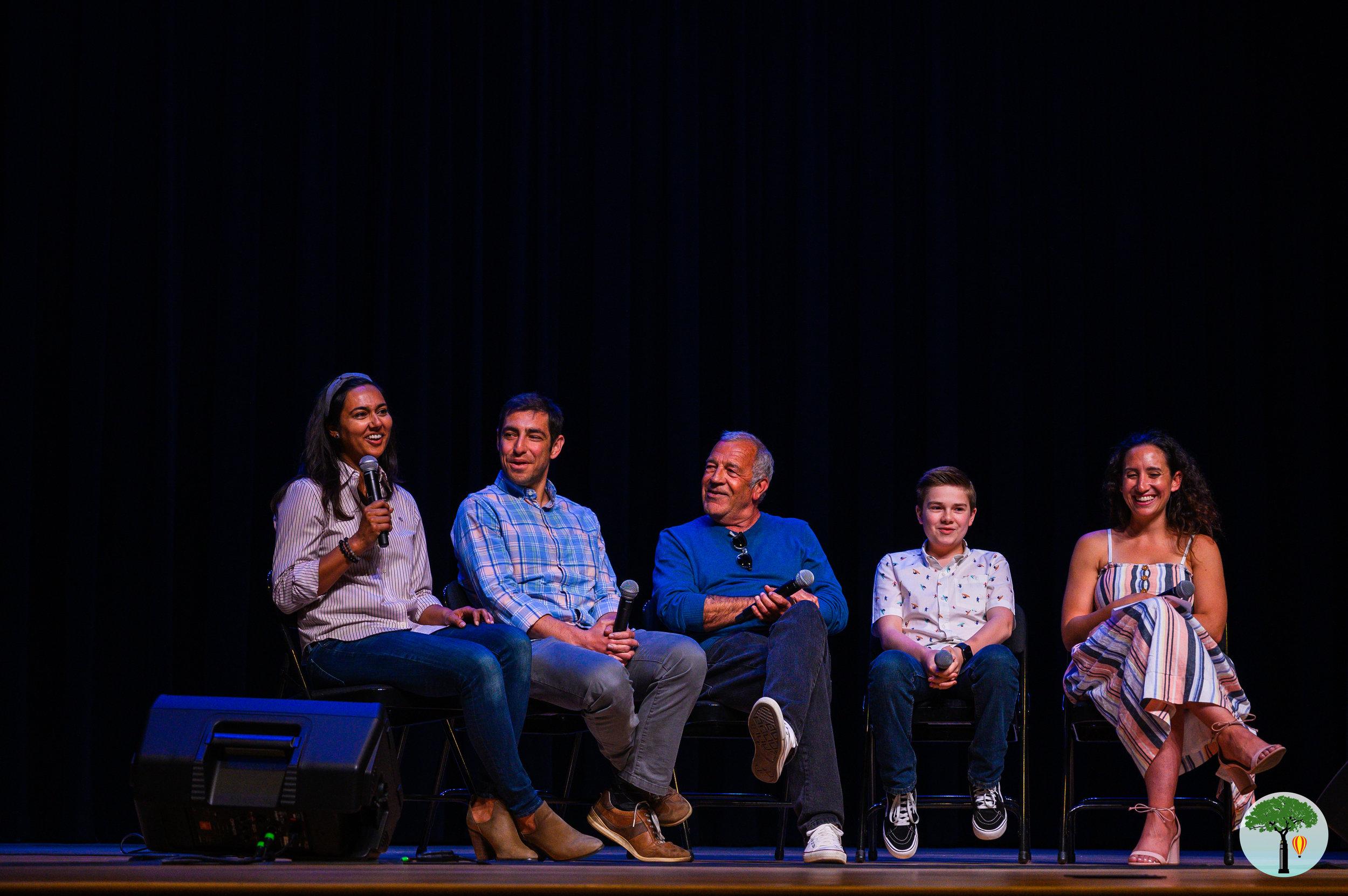 A panel discussion with Lisha Yakub Sevanian (producer), Aaron Greyson (screenwriter), Fred Gerber (director), Jet Jurgensmeyer (actor), and Alix Schwartz (moderator).
