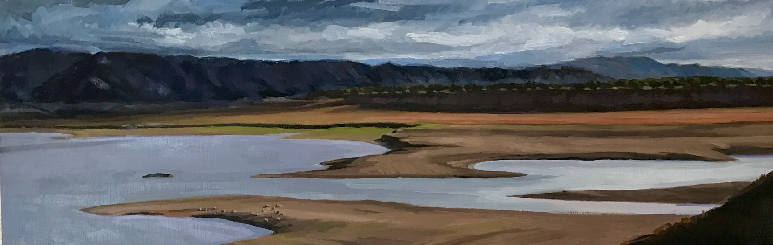 """Low Lake, oil on canvas, 12x36"""""""