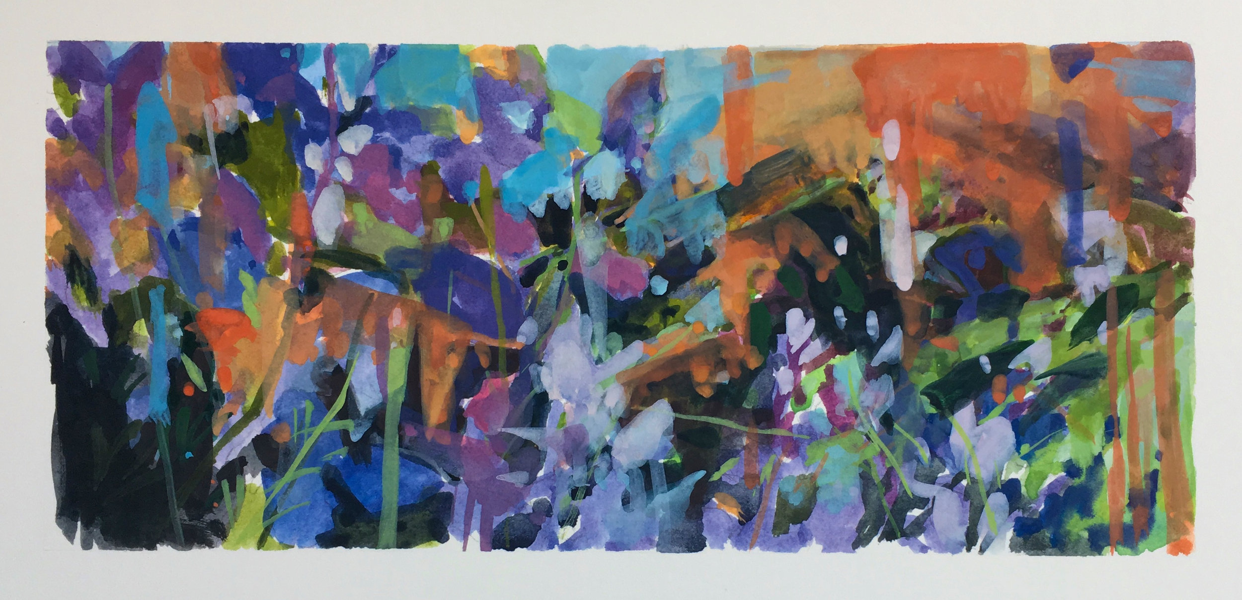 "Lupine and Poppies 4"" x 9"" Gouache on Arches Board"