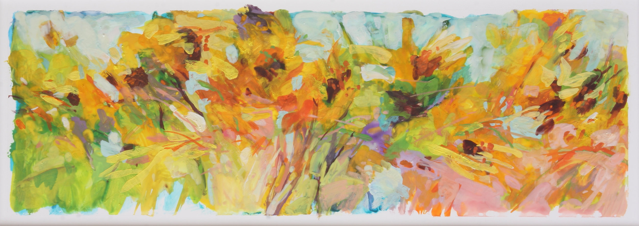 "After the Rains - California Sunflowers 5"" x 15.5"" Gouache on Yupo"