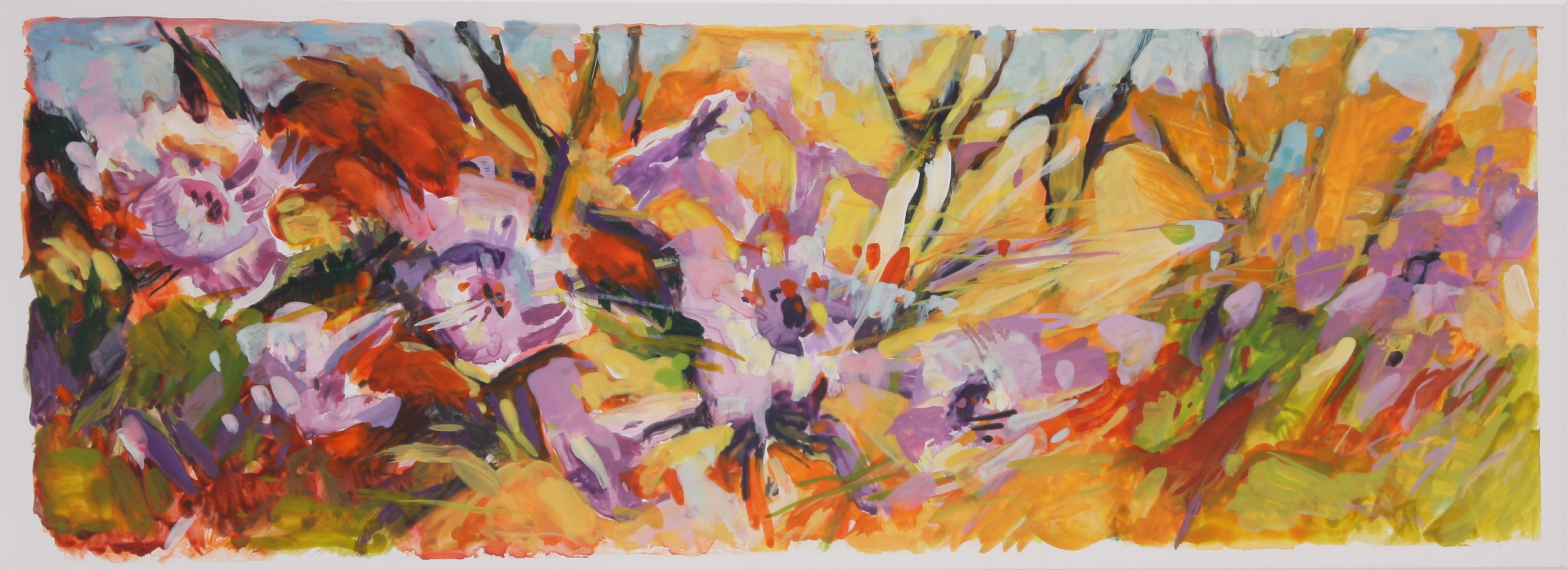 "After the Fires - Poodle Dog Bush 5"" x 15.5"" Gouache on Yupo"