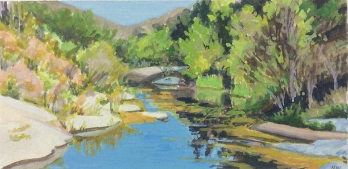 "Creek Below Fish Passage, gouache, 3""x6"""