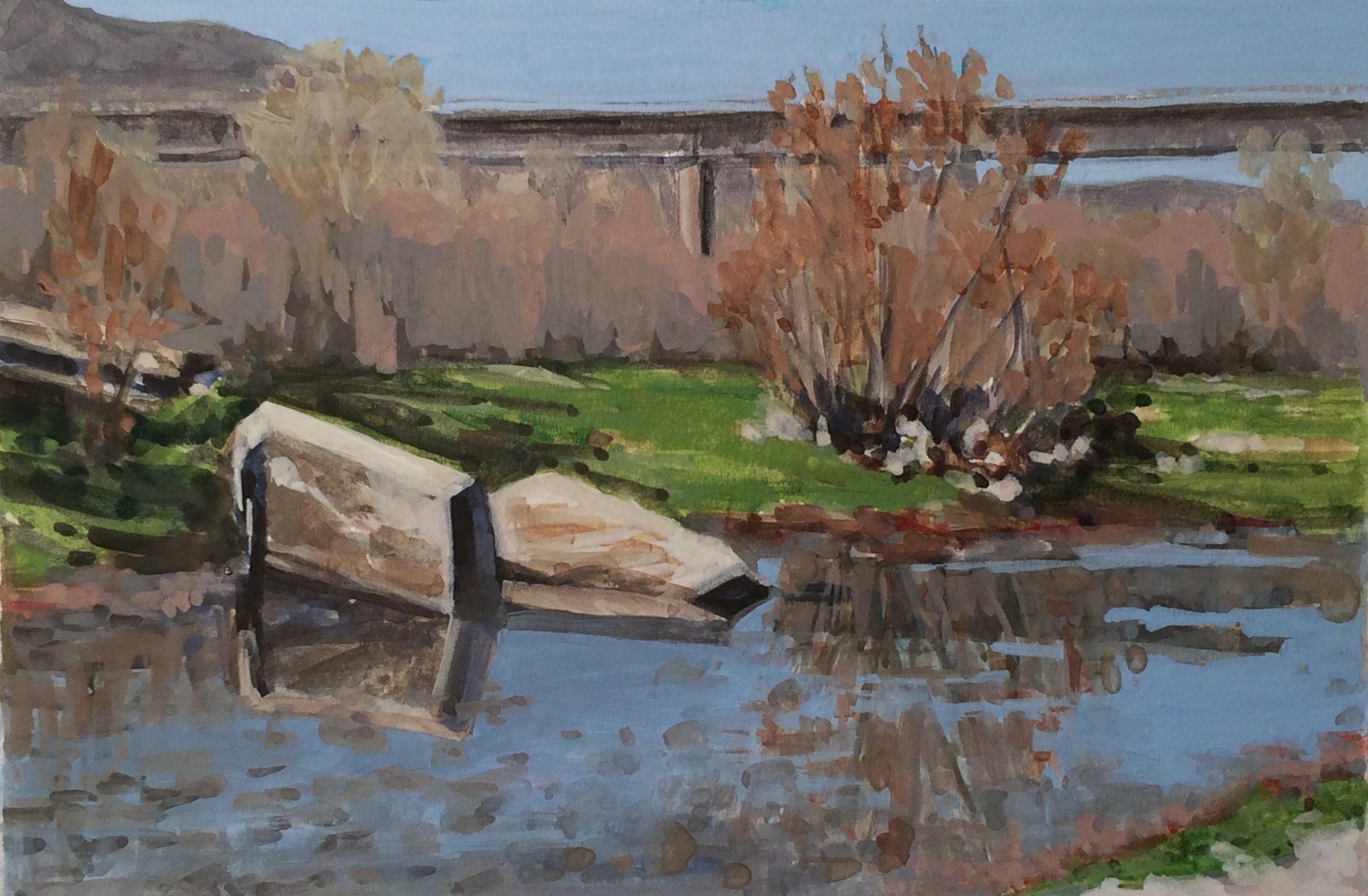 River Rubble, Santa Ynez River, gouache by Nina Warner