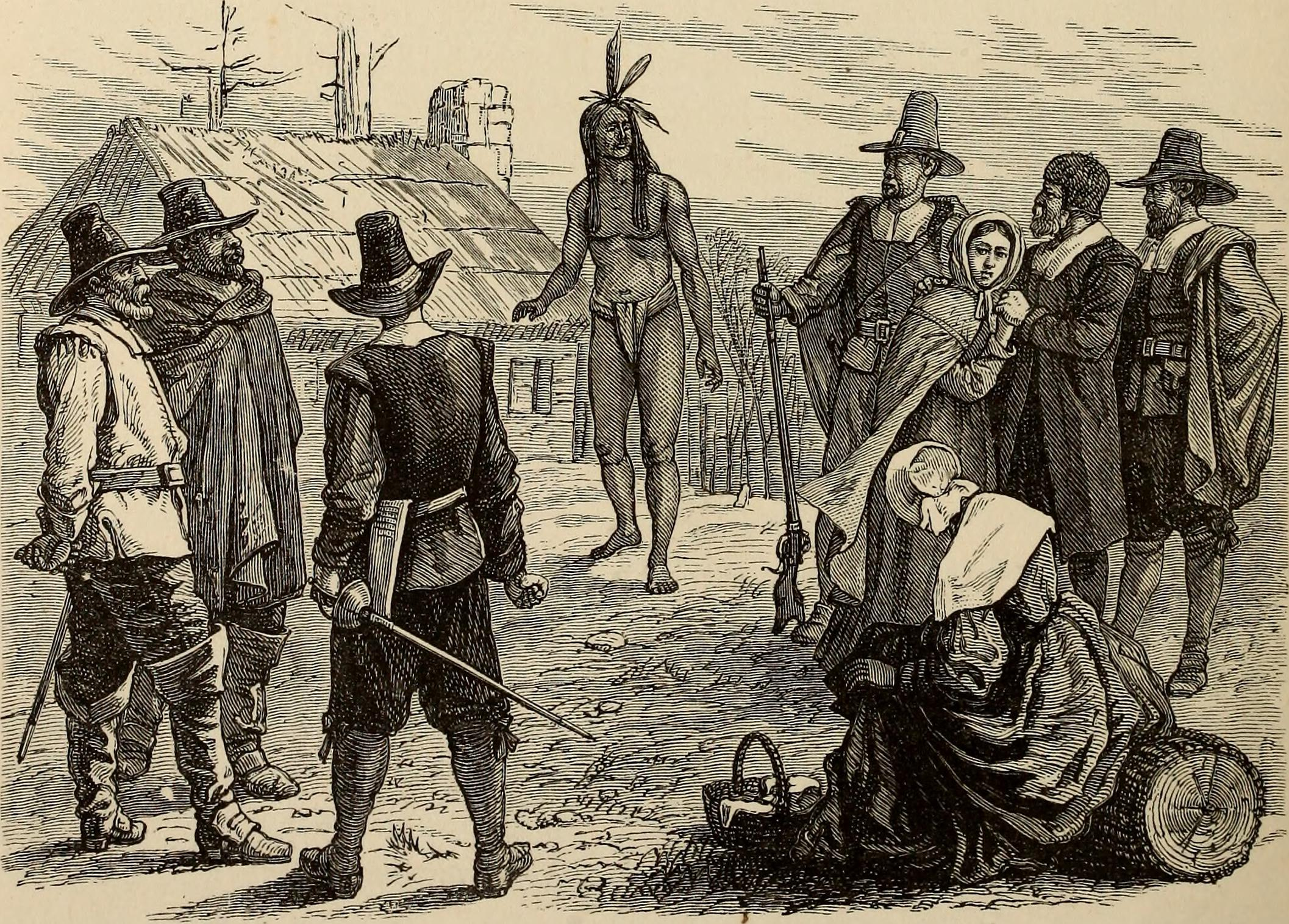 Drawing of the Pilgrims with Tisquantum.