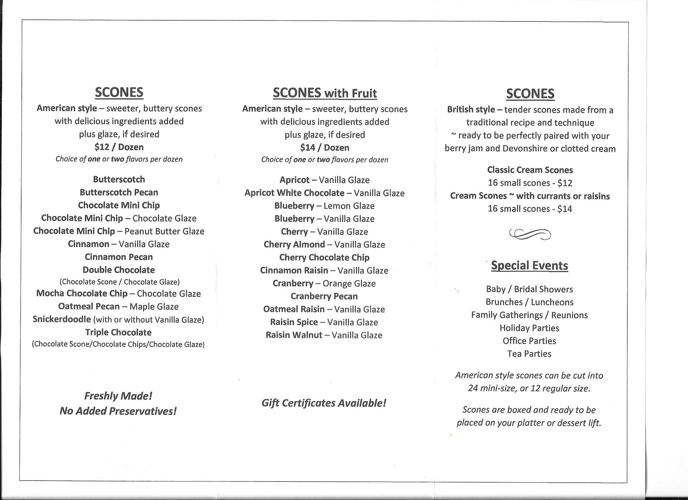 Scones menu