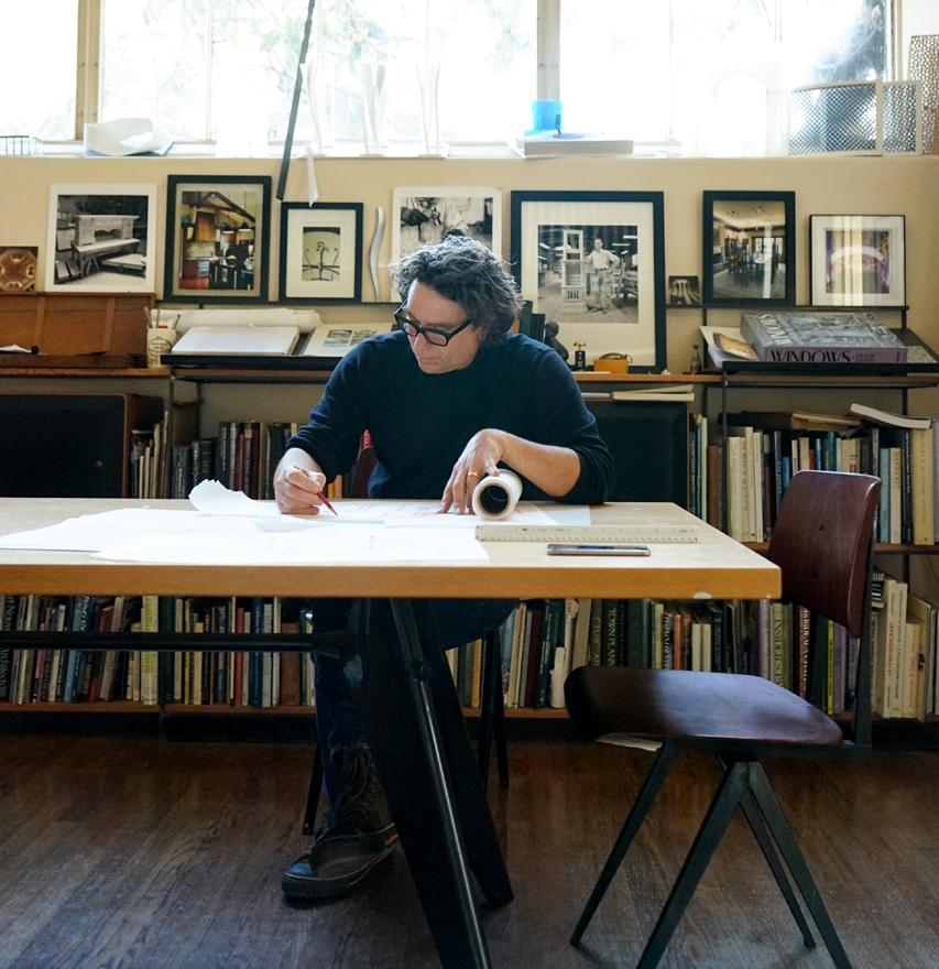 Britton L. Jewett sketches in his studio in Historic Downtown Santa Barbara, CA.