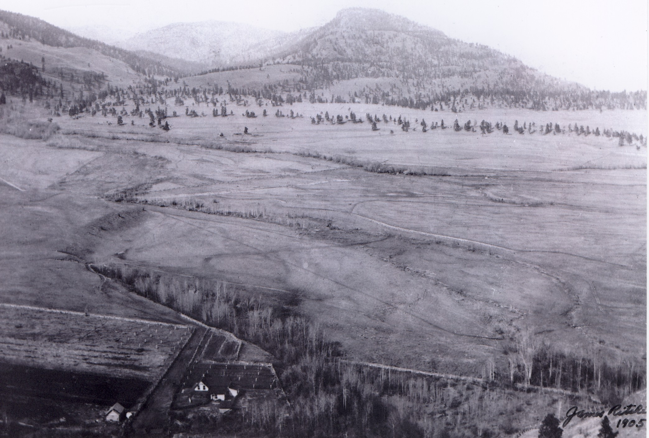 The flats of future downtown Summerland with James Ritchie's home in left, previously Indian Reserve #3, 1905