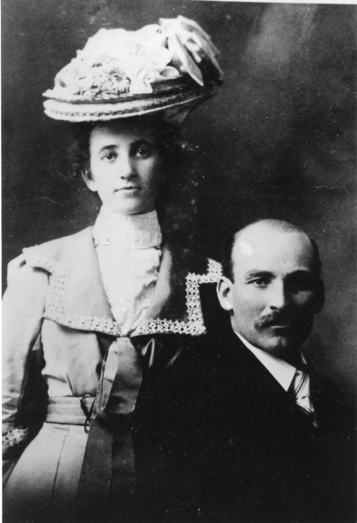 """Wedding portrait of William Sam McGee and his wife Ruth Warnes. Sam McGee was a Summerland resident and the basis for the poem """"The Cremation of Sam McGee"""" by Robert William Service."""