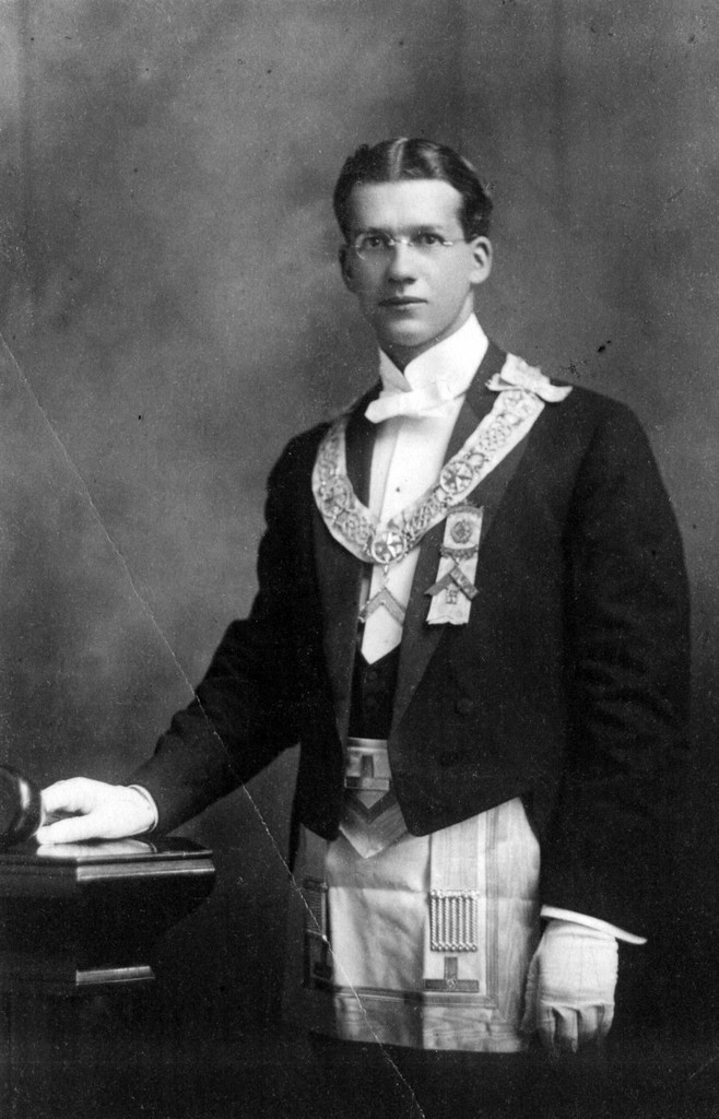 Dr. Fred W. Andrew wearing his Masonic Regalia.