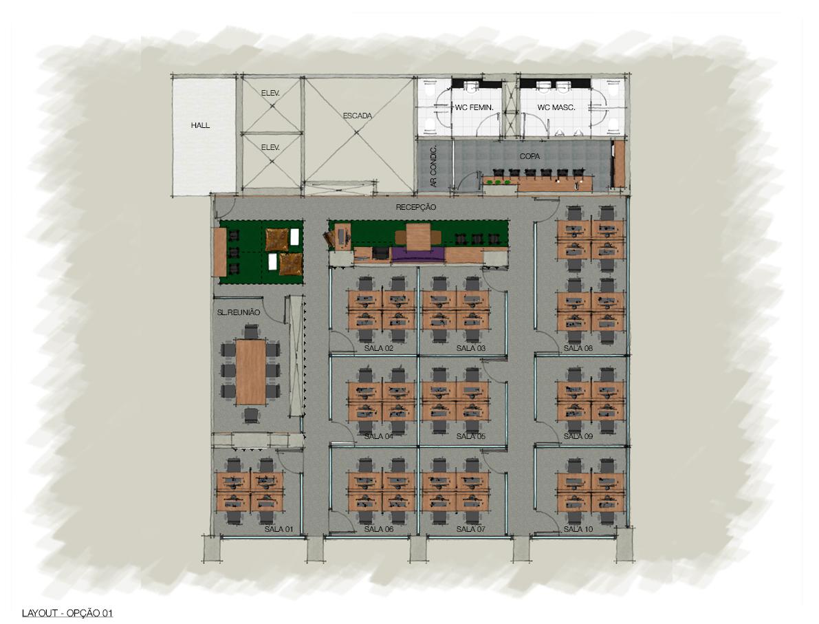 Opção de layout para sala 4 lugares