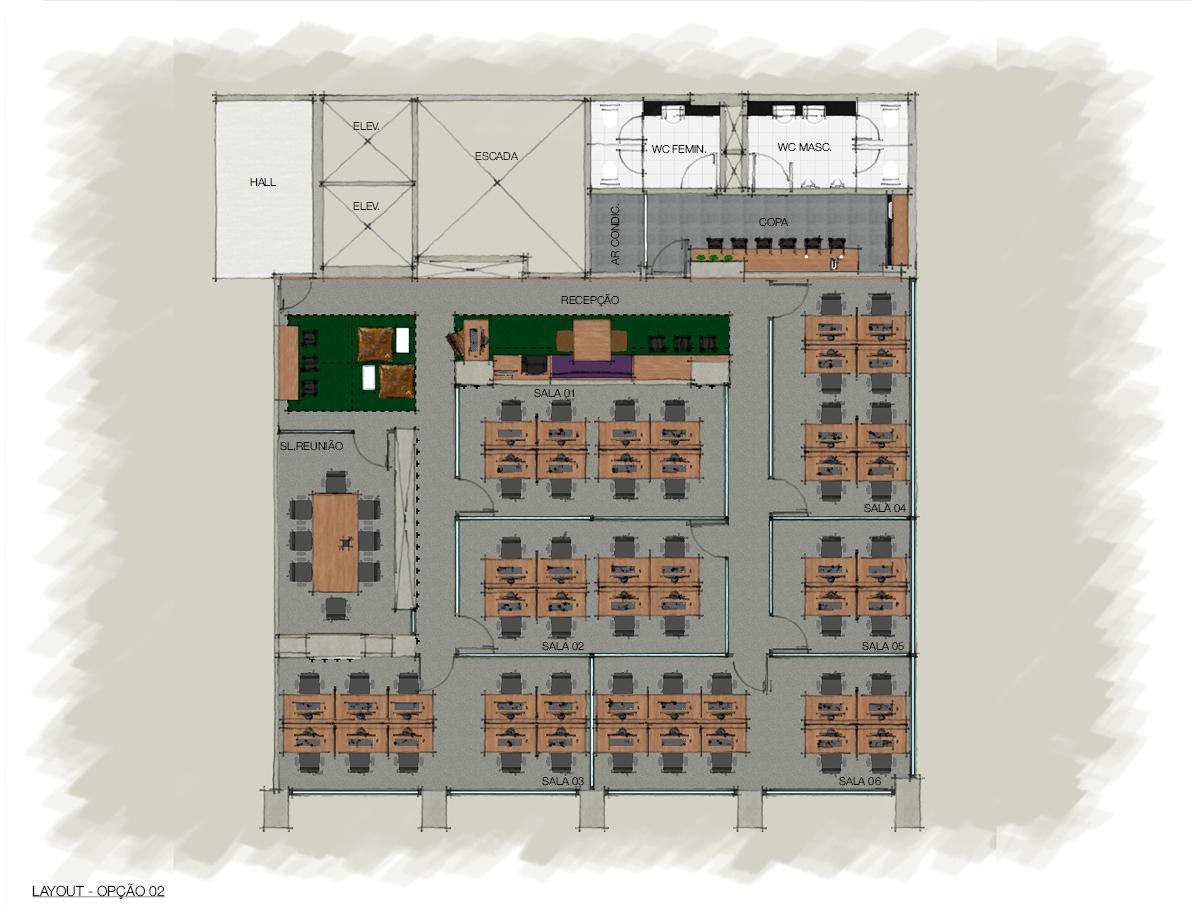 Opção de layout para sala de 8 e 10 posições