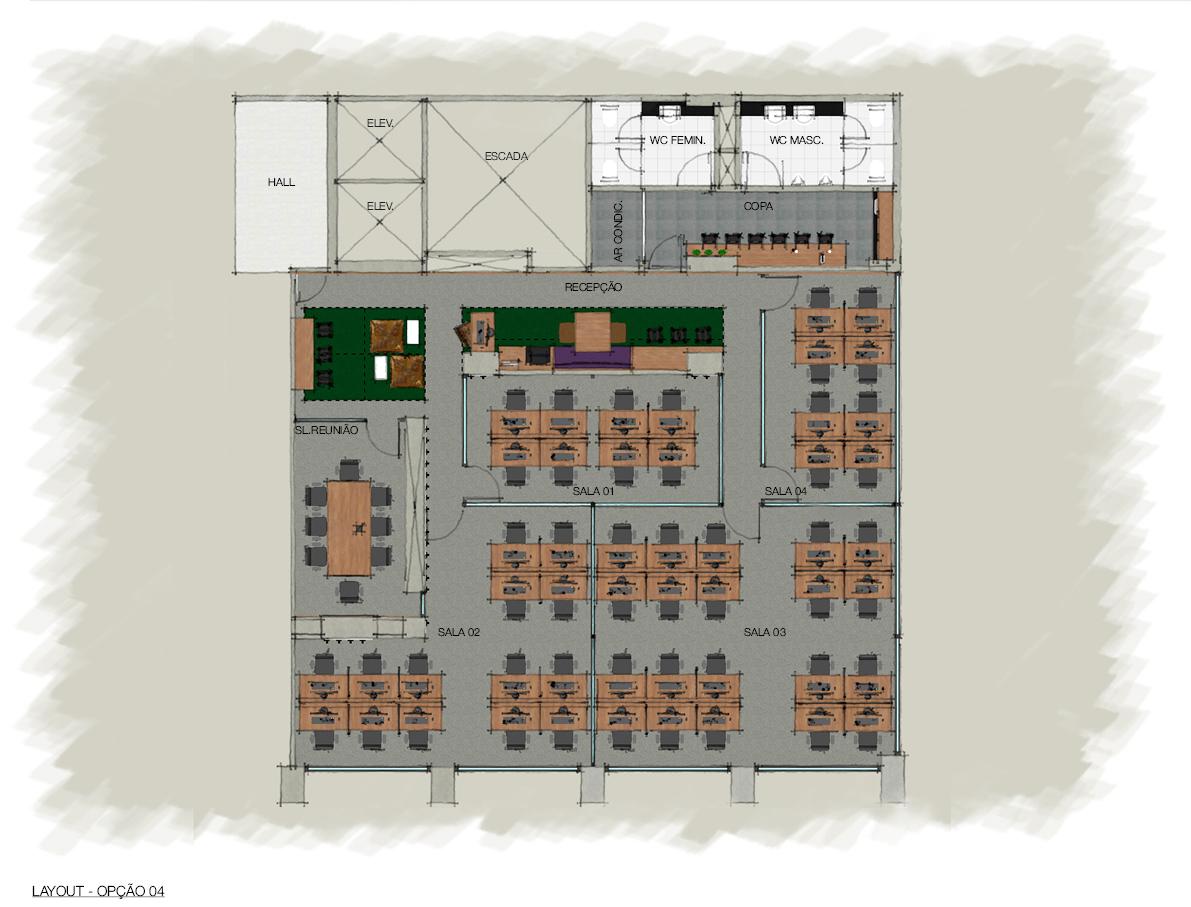 Opção de layout para sala de 14 e 20 lugares