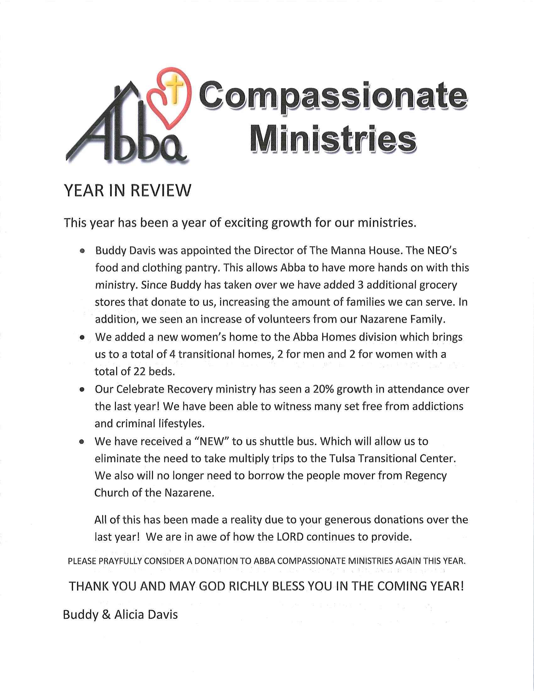 Abba Compassionate Ministries Year in Review 2017