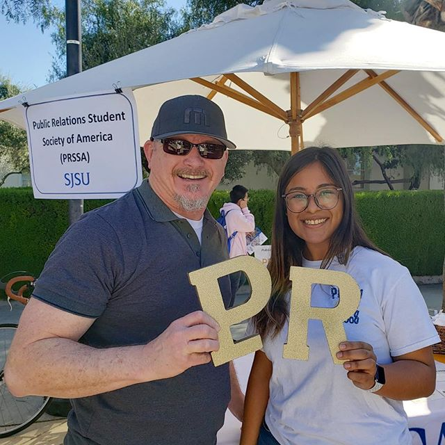 PRSSA handed out over 100 flyers for our student organization today! 🎉 Look at this PRSSA SJSU class of '92 grad we ran into! Alumni looking to be involved with our organization can send us a direct message on any social media page. #SpartanUp #AdmittedSpartanDay