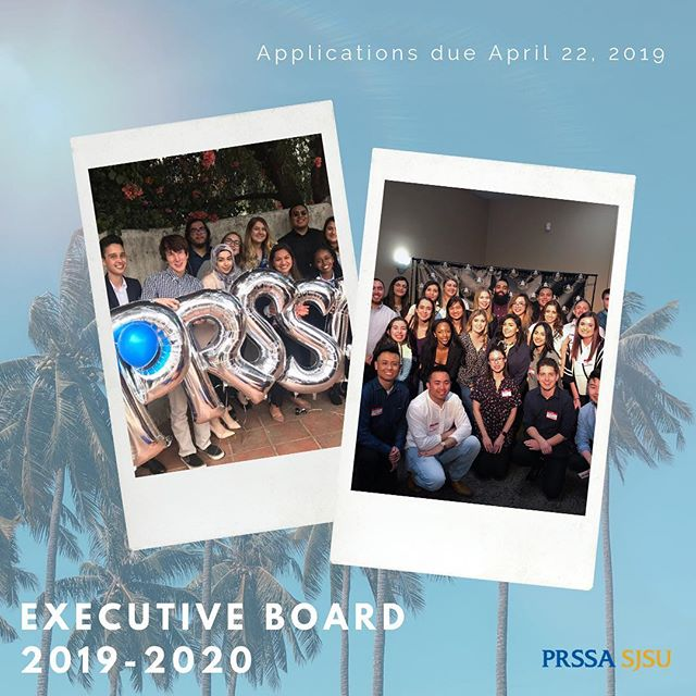 Applications for the 2019-2020 Executive Board are now open! All applications are due April 22, by 5:00 pm. We will have an informational meeting tonight in DBH 117 at 6:00 pm. See you all there! #PRSSA  Click the link in our bio to apply TODAY! ⬆️