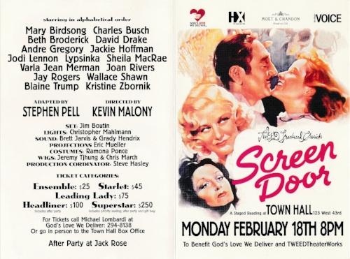 Screen Door (Stage Door) - A Benefit for God's Love We DeliverFebruary 18, 2002