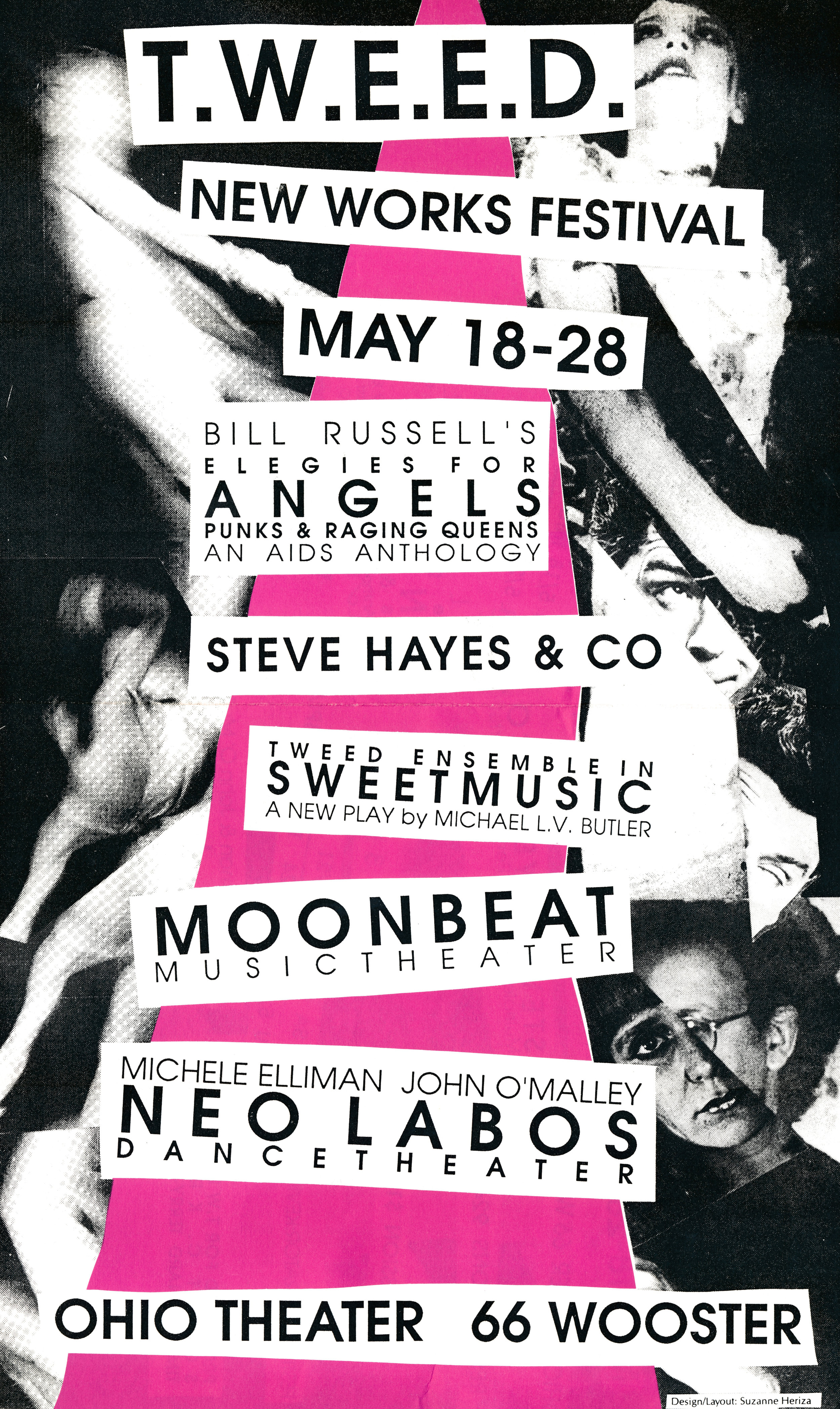 NEW WORKS FESTIVAL #6, 1989 - OHIO THEATERCarol Lipnik, Moonbeat; Coney Island ScreamsSteve Hayes, Multiple Personality PerformanceNeo Labos Dance Theater, Coming ToMichael Butler, Sweet MusicBill Russell & Janet Hood, elegies for angels punks and raging queens