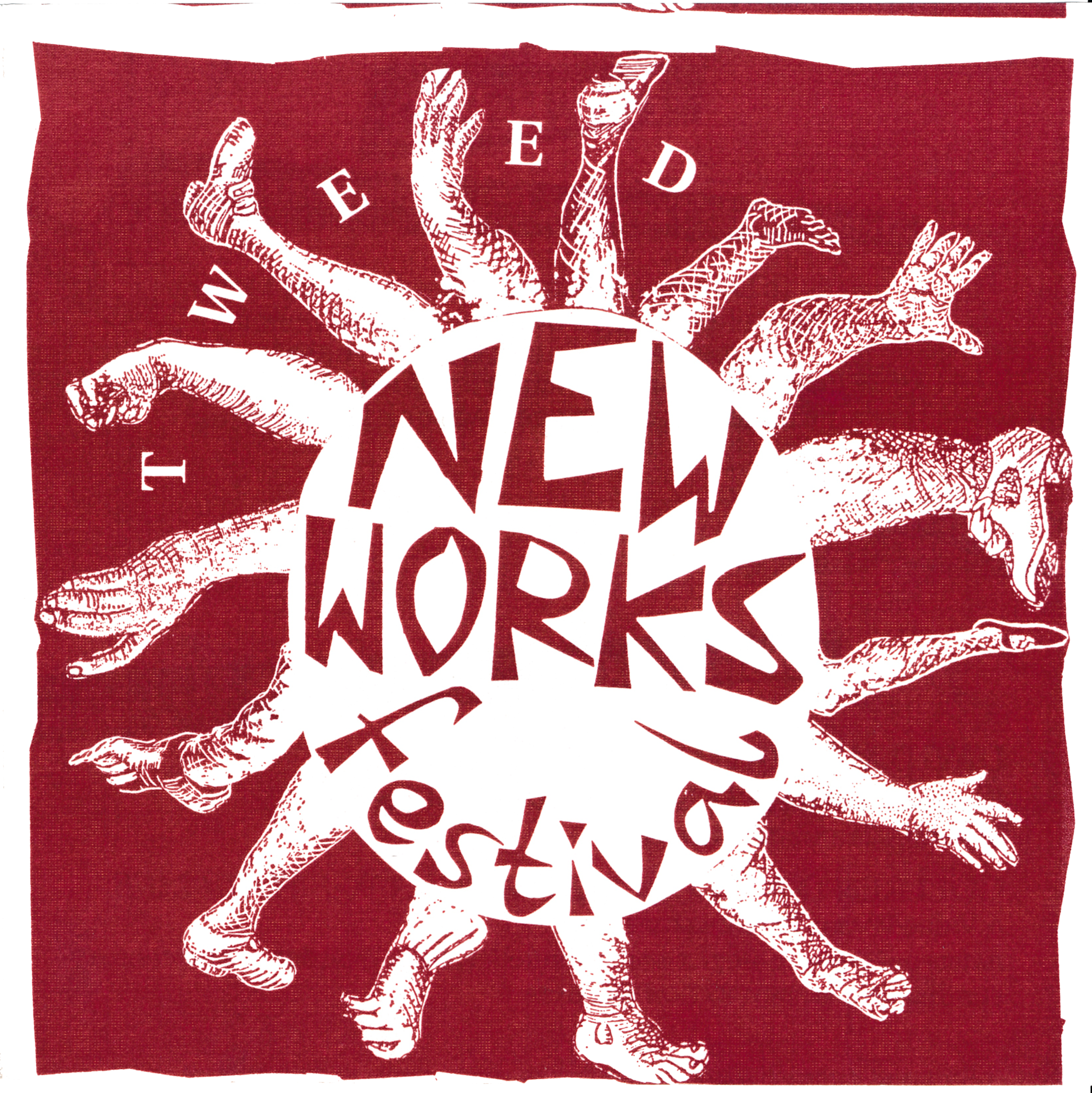 NEW WORKS FESTIVAL #8, 1992 - OHIO THEATERAnohni (of Antony & The Johnsons), Fiona Blue: She's So BlueSally Gross & Company, A Night at the OhioAmiele Malale Dance, Too Young to KnowJames Adlesic, PinocchioWarren Muller, My Blue Eyed SonIncollusion, All That GlittersJoshua Fried, TravelogueDavid McGrath, MeltingColleen O'Neill, Julia Wonder: Let Me Change Your LifeDoug Holsclaw, Don't Make Me Say Things That Will Hurt YouPiotr Uklanski, InstallationBiello and Martin, Breakthrough