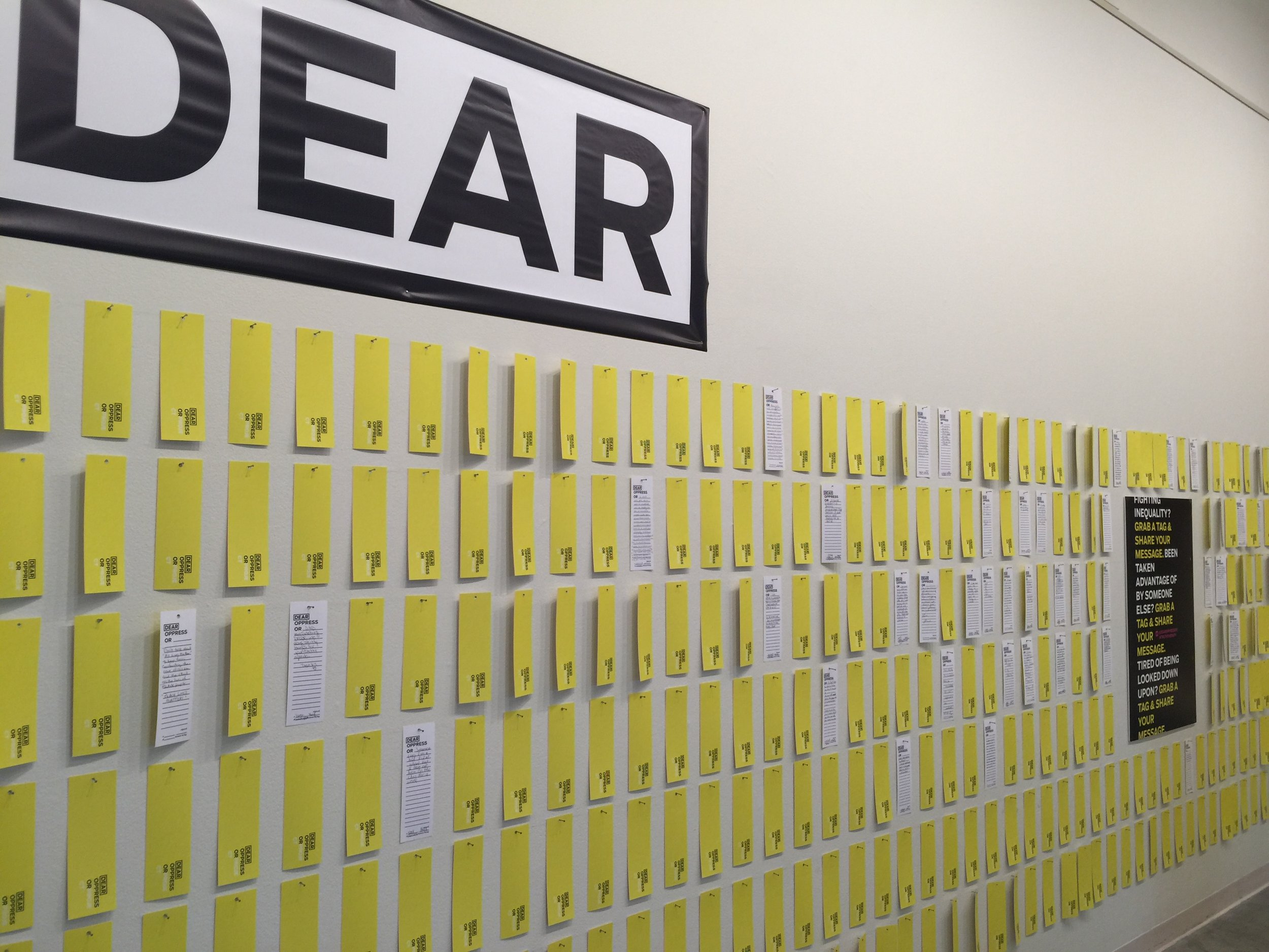 Dear Oppressor Project, 2015, a digital, temporary public art, and workshop series addressing individual oppression.