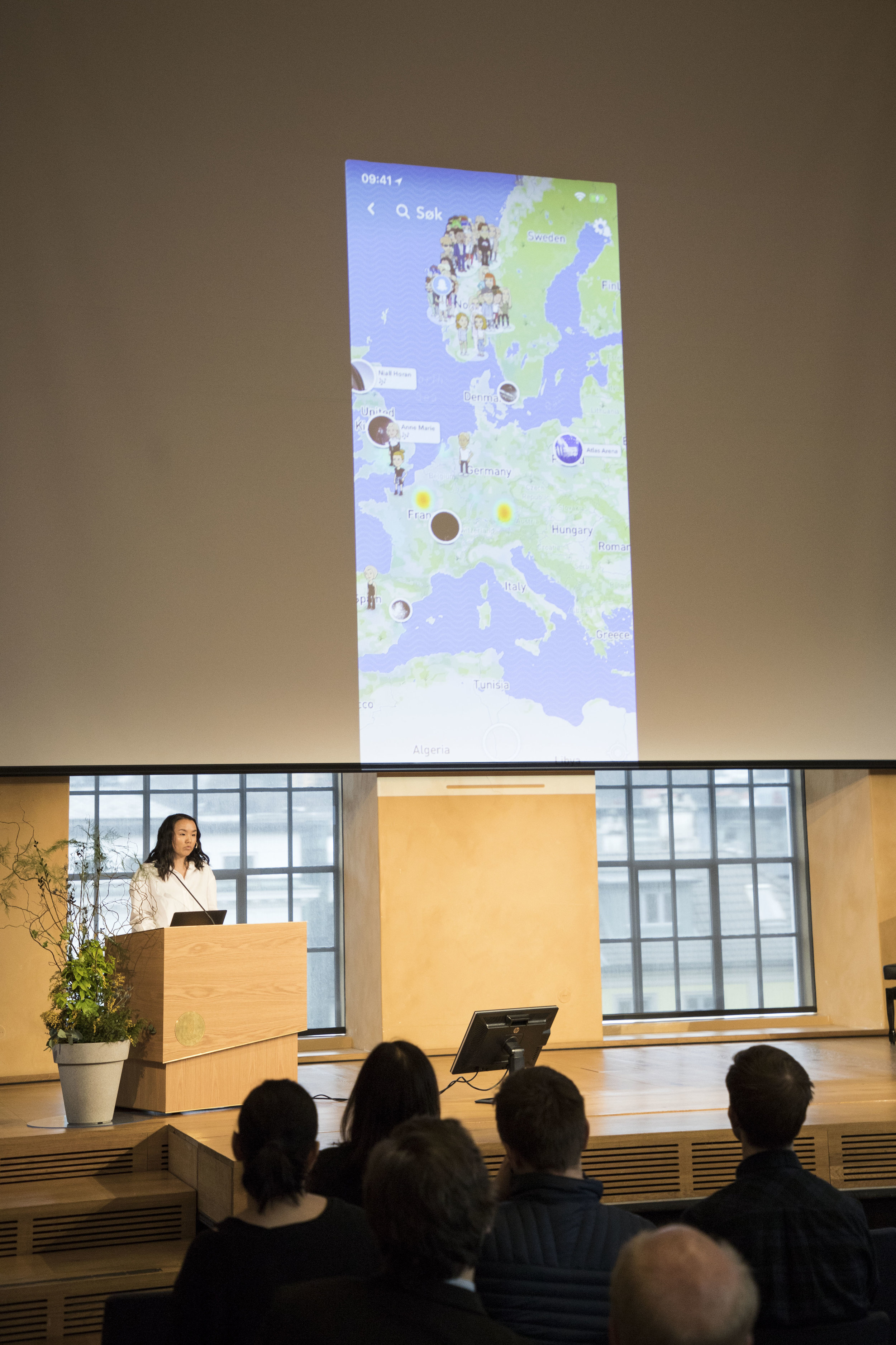 ON THE MAP: Maren Myrseth used Snapchat's map function to exemplify surveillance in our everyday lives. PHOTO: Robert Nedrejord