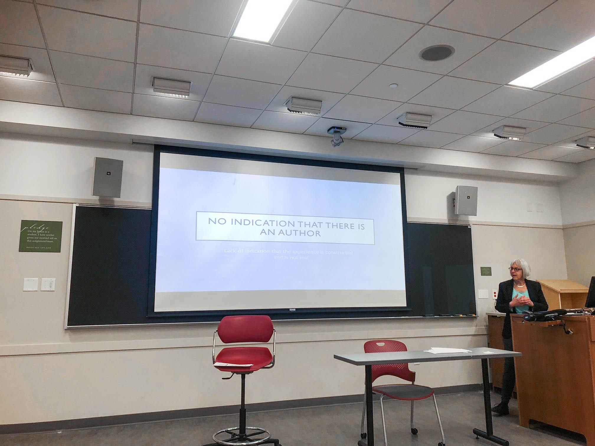 Deborah G. Johnson presenting her paper at Global Fusion 2018. When does empathic media cross the line? Image by Joakim Vindenes.